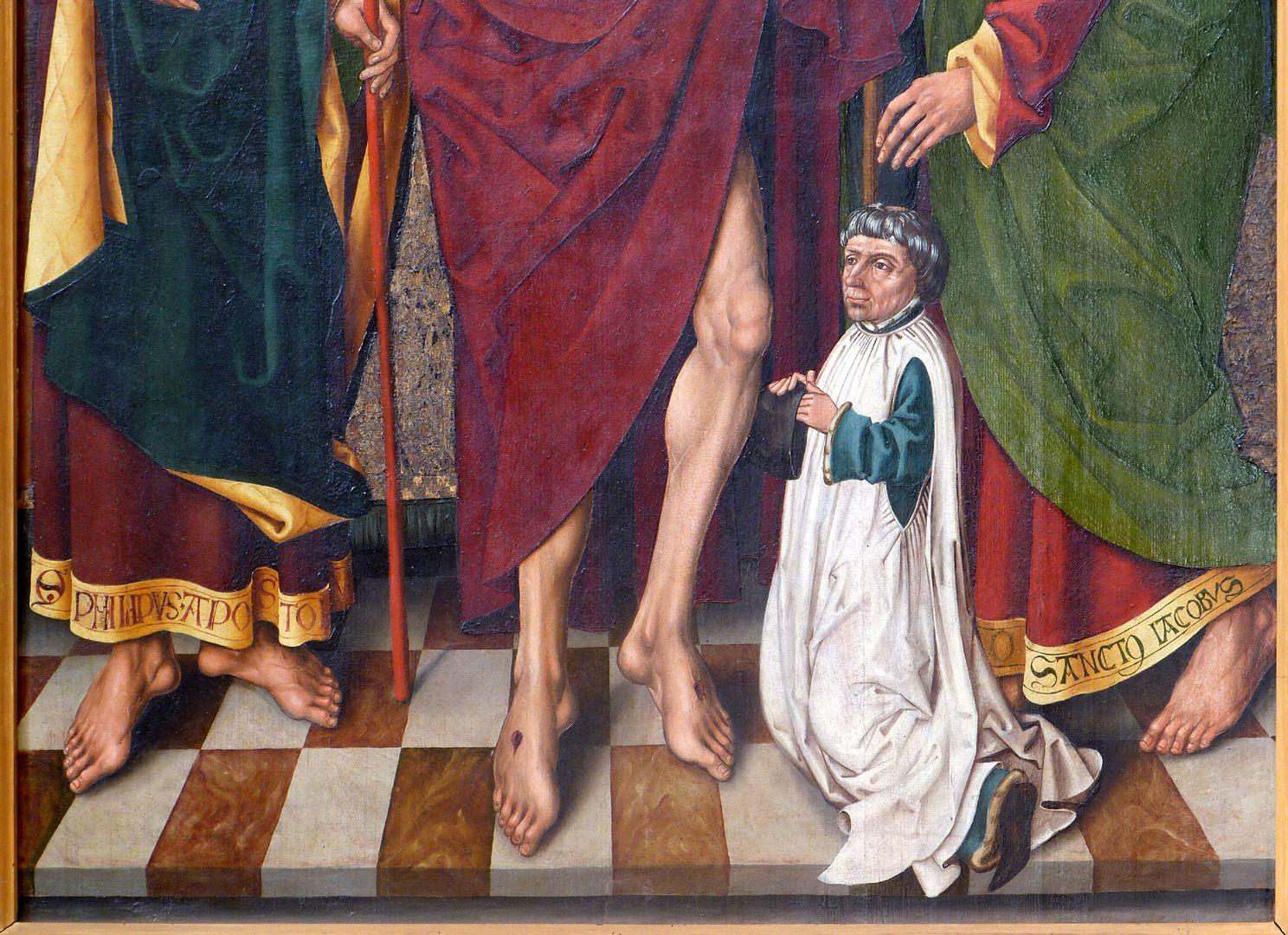 Schmerzensmann zwischen den Heiligen Philippus und Jakobus Minor untere Bildhälfte