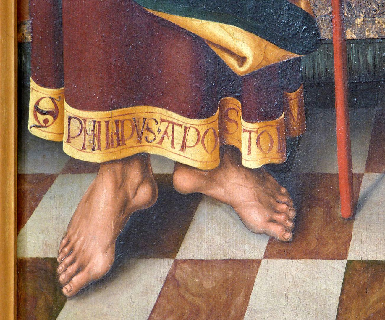 Schmerzensmann zwischen den Heiligen Philippus und Jakobus Minor Füsse des Philippus