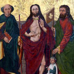 Man of Sorrows between Saints Philip and James Minor