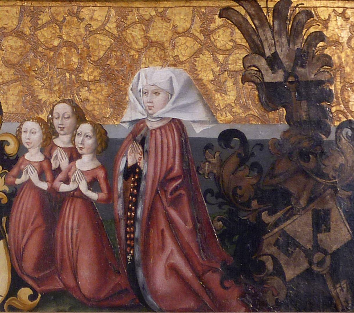 Himmelfahrt Christi Katharina Schlüsselfelder (gestorben am 29. Mai 1474), die erste Ehefrau von Sigmund Fürer mit ihren Töchtern und dem Schlüsselfelderwappen (Heirat am 9. November 1467)