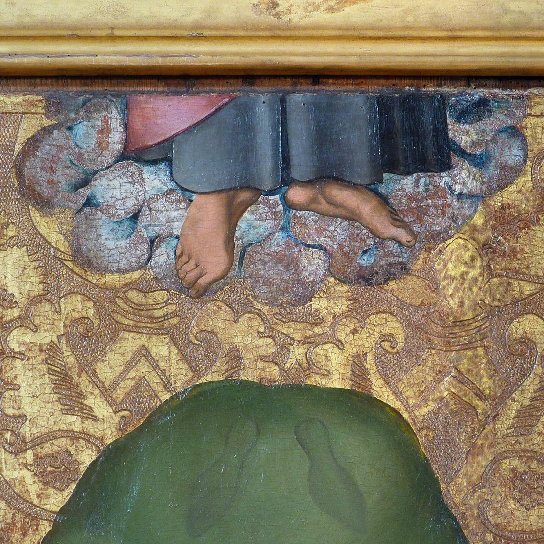Himmelfahrt Christi Detail mit Himmelfahrt und Fußabdrücken
