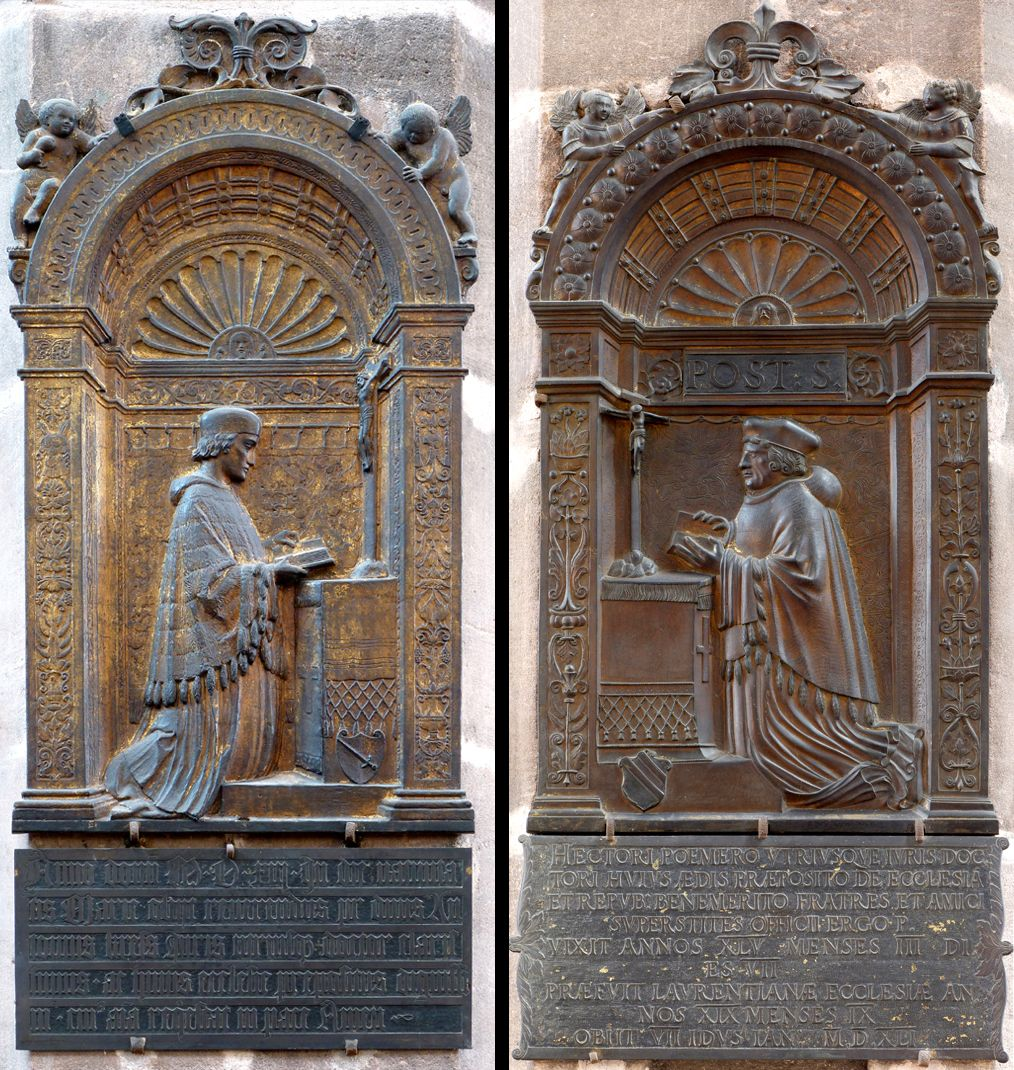 Epitaph for Dr Anton Kress links: Das Epitaph von Dr. Anton Kress, rechts: als Gegenüber am zweiten südlichen Pfeiler das Epitaph Hector Pömers von 1541