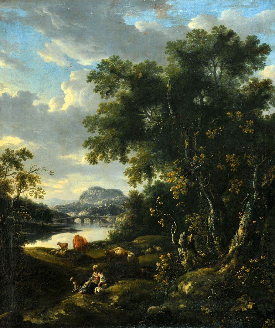 Ideal landscape with resting herdswoman and animals on the river General view