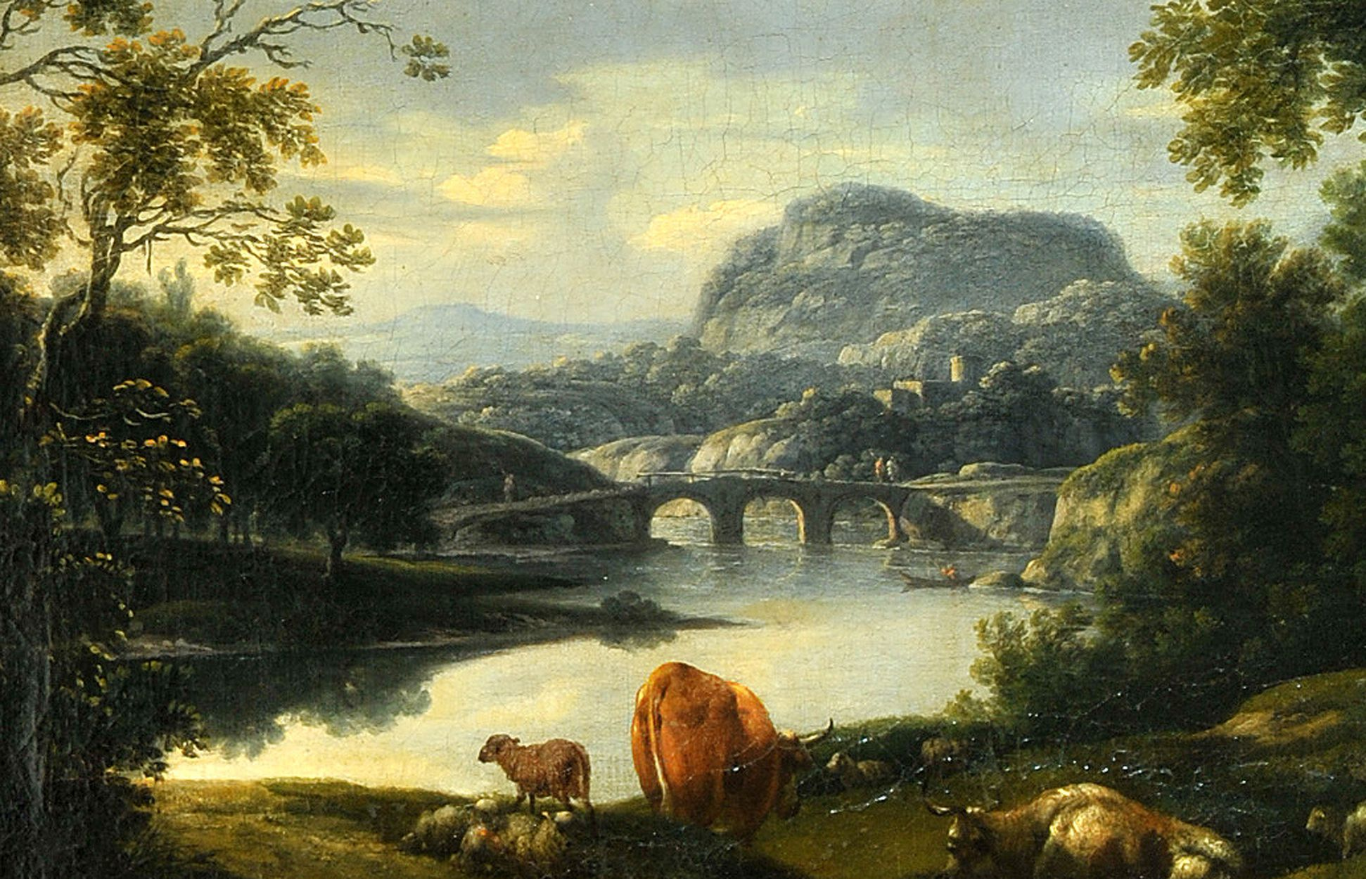 Ideal landscape with resting herdswoman and animals on the river Detail