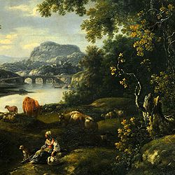 Ideal landscape with resting herdswoman and animals on the river