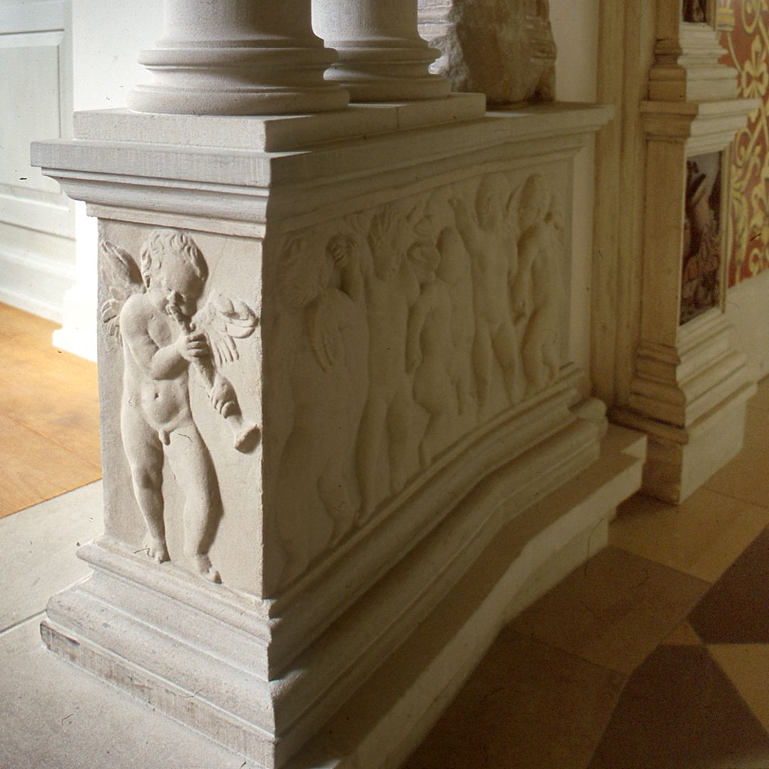 """Hirsvogelsaal Detail of the left pedestal of the so-called """"fire-place"""""""