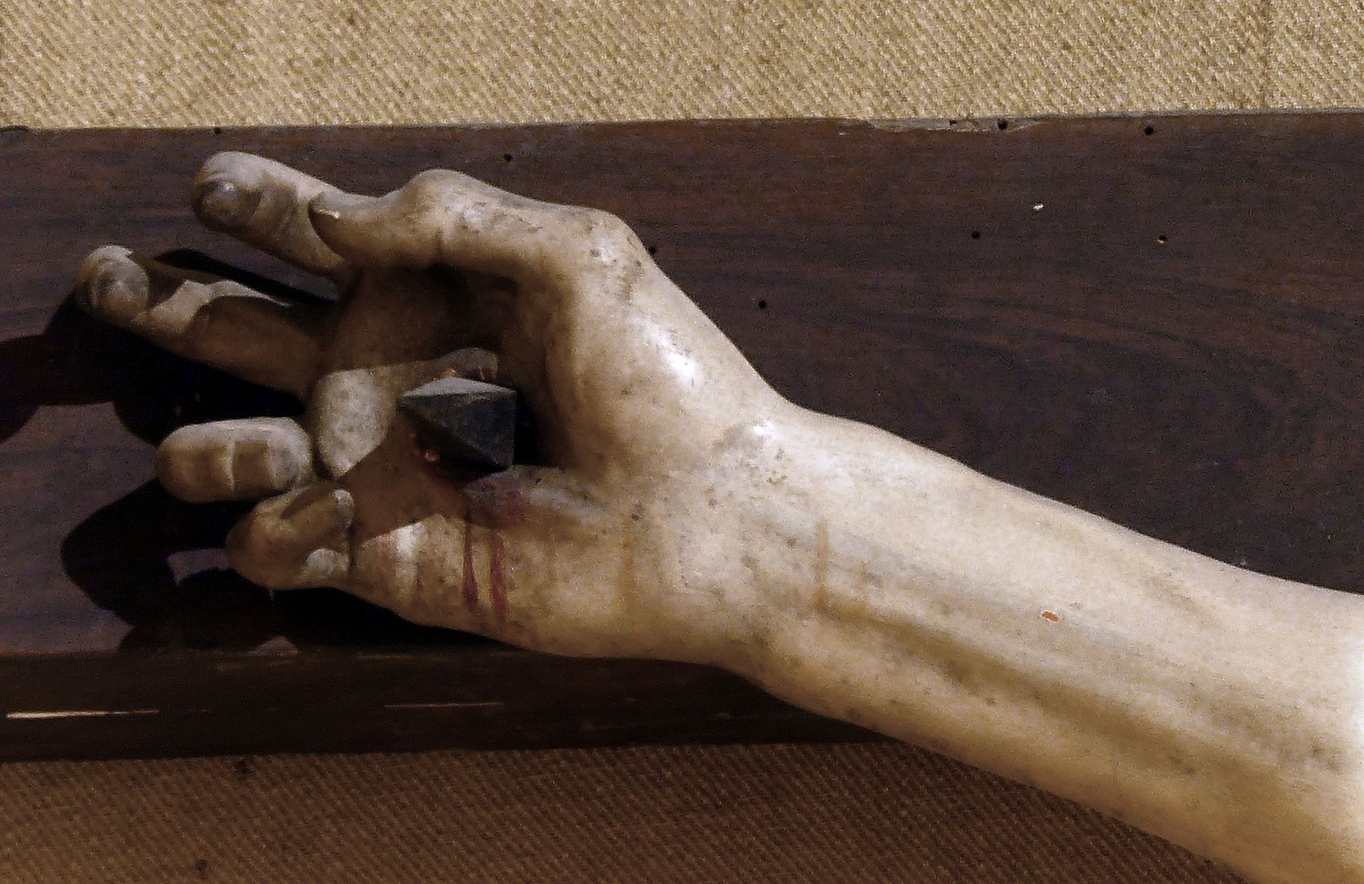 Crucifixus Jesus´s right hand pierced by a nail