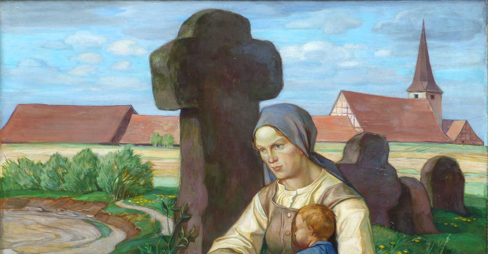 Woman at a stone cross Upper half of the picture