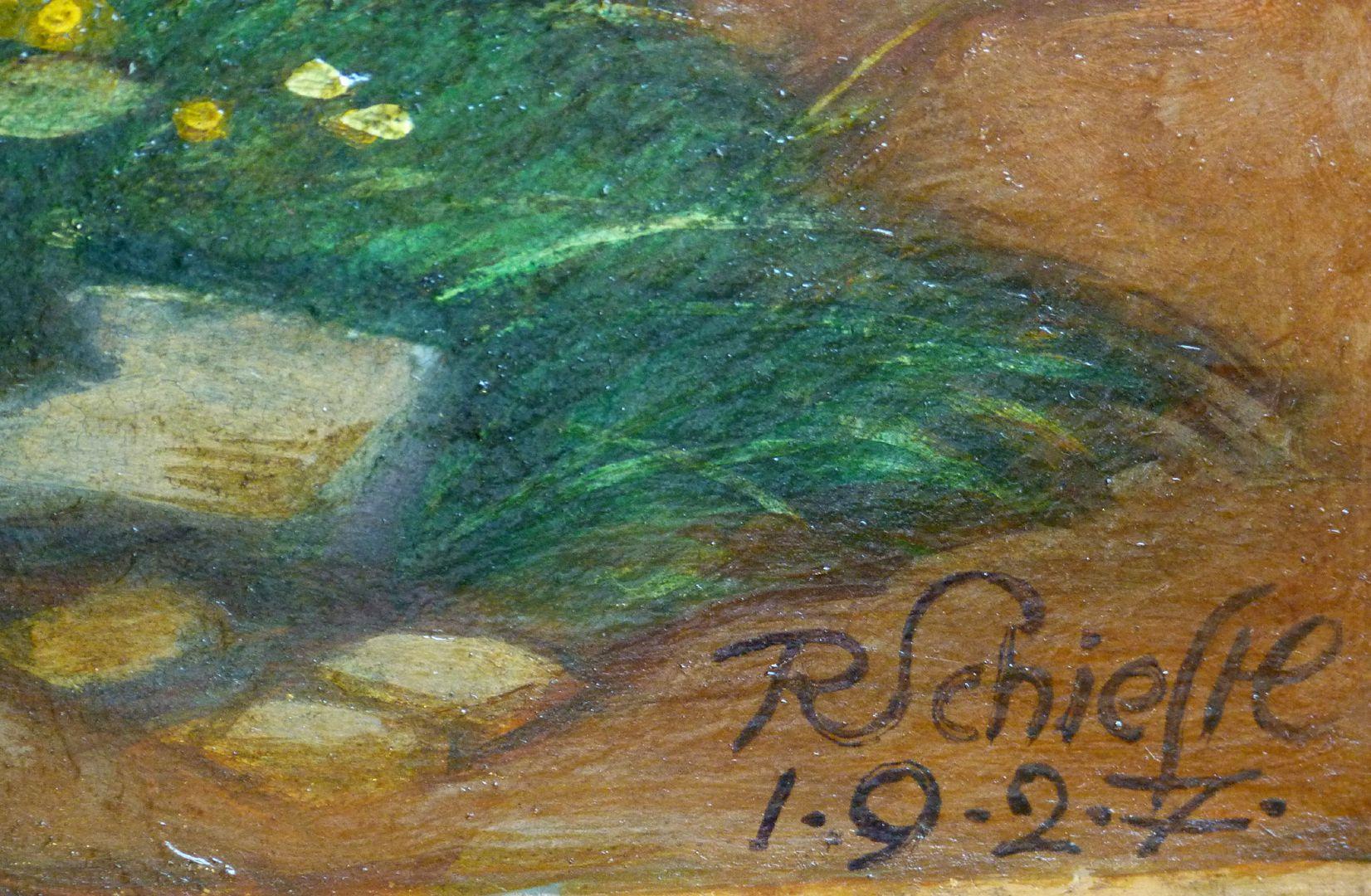 Woman at a stone cross Signature