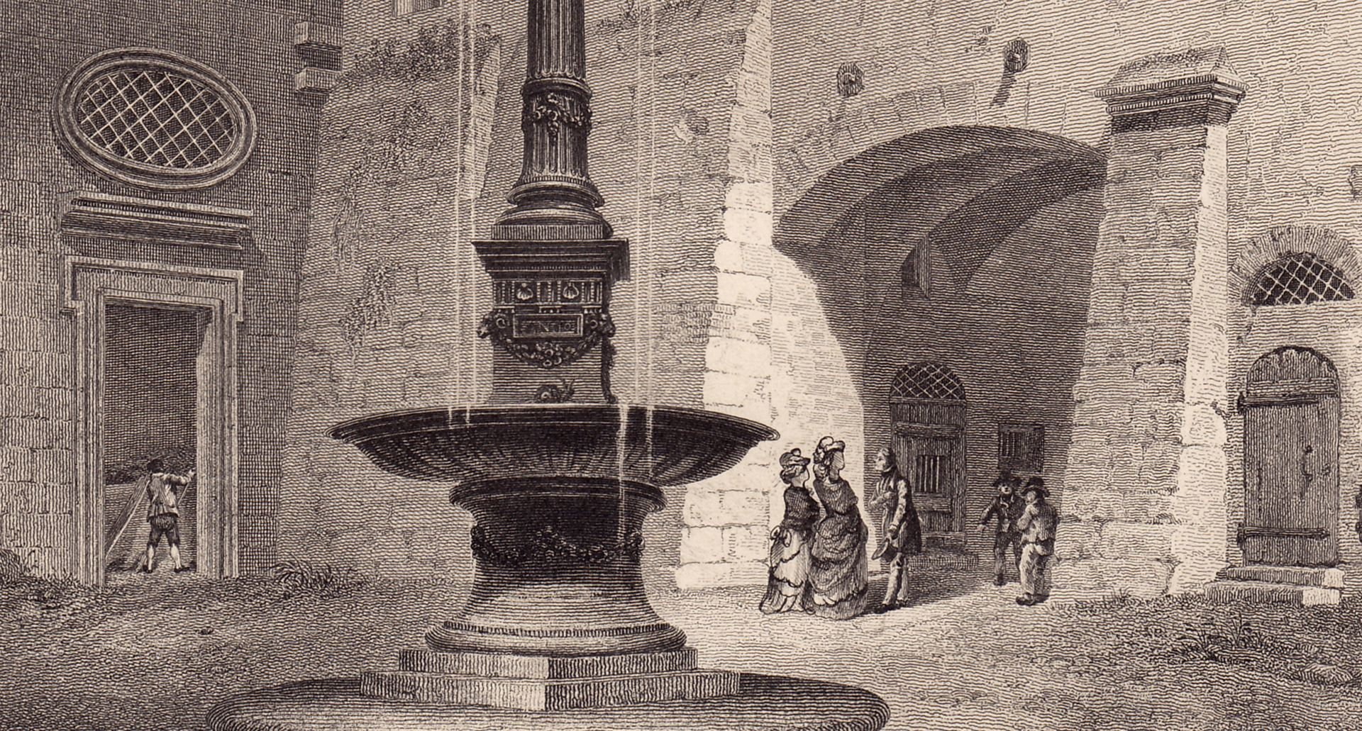 Fountain in the Court Yard of the City Hall Detail