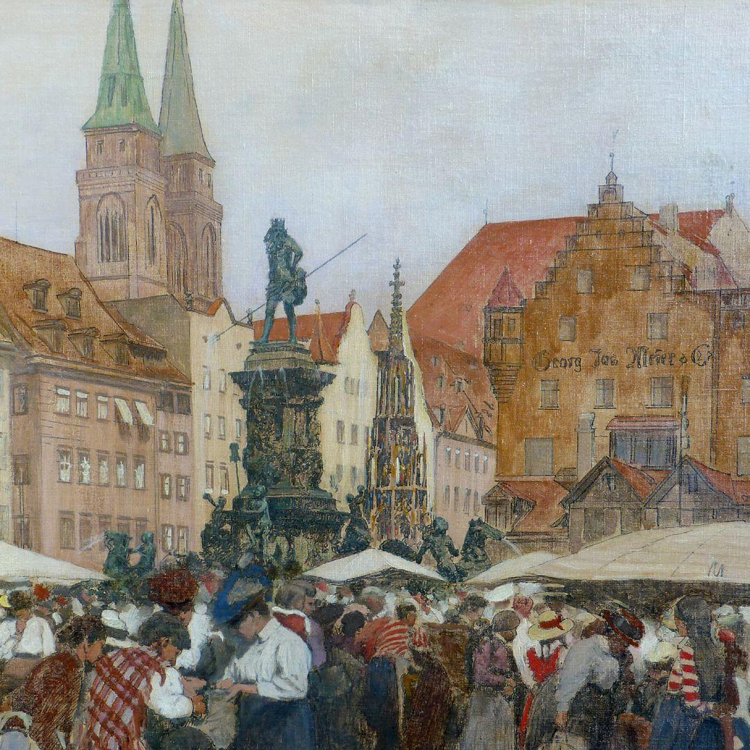 Main market in Nuremberg St. Sebald Church, Neptune fountain and beautiful fountain