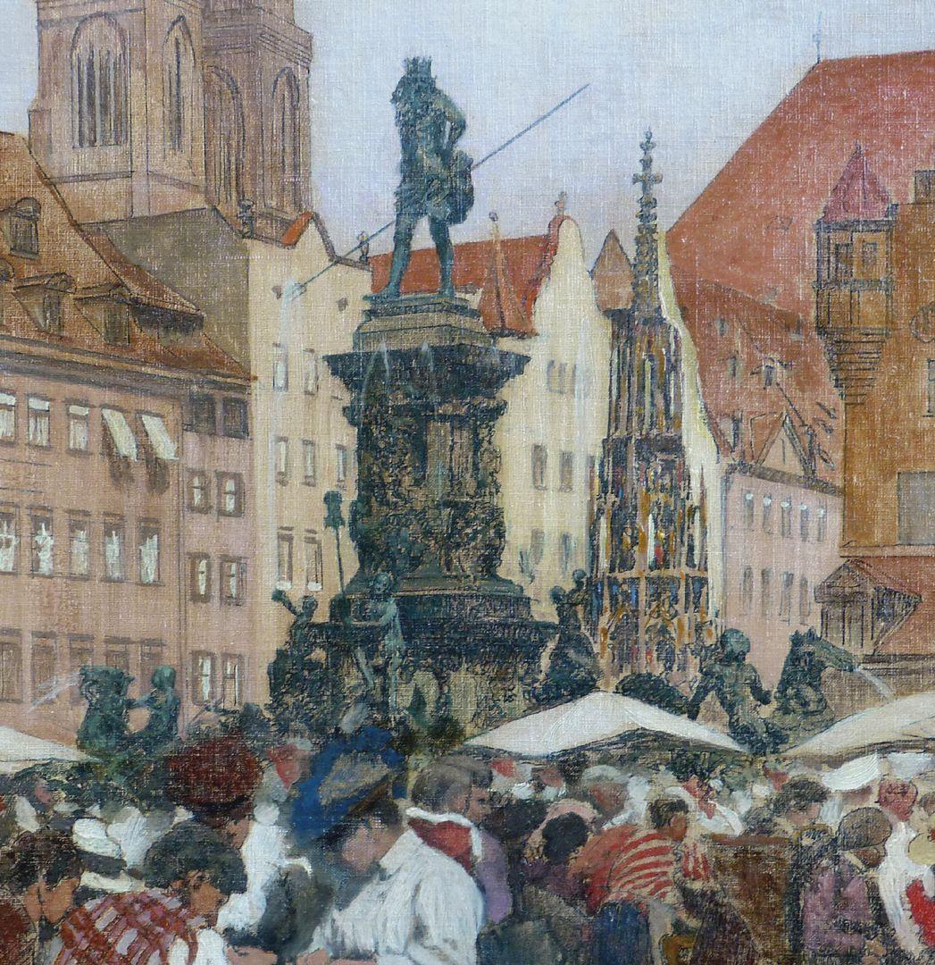 Main market in Nuremberg Neptune fountain and beautiful fountain