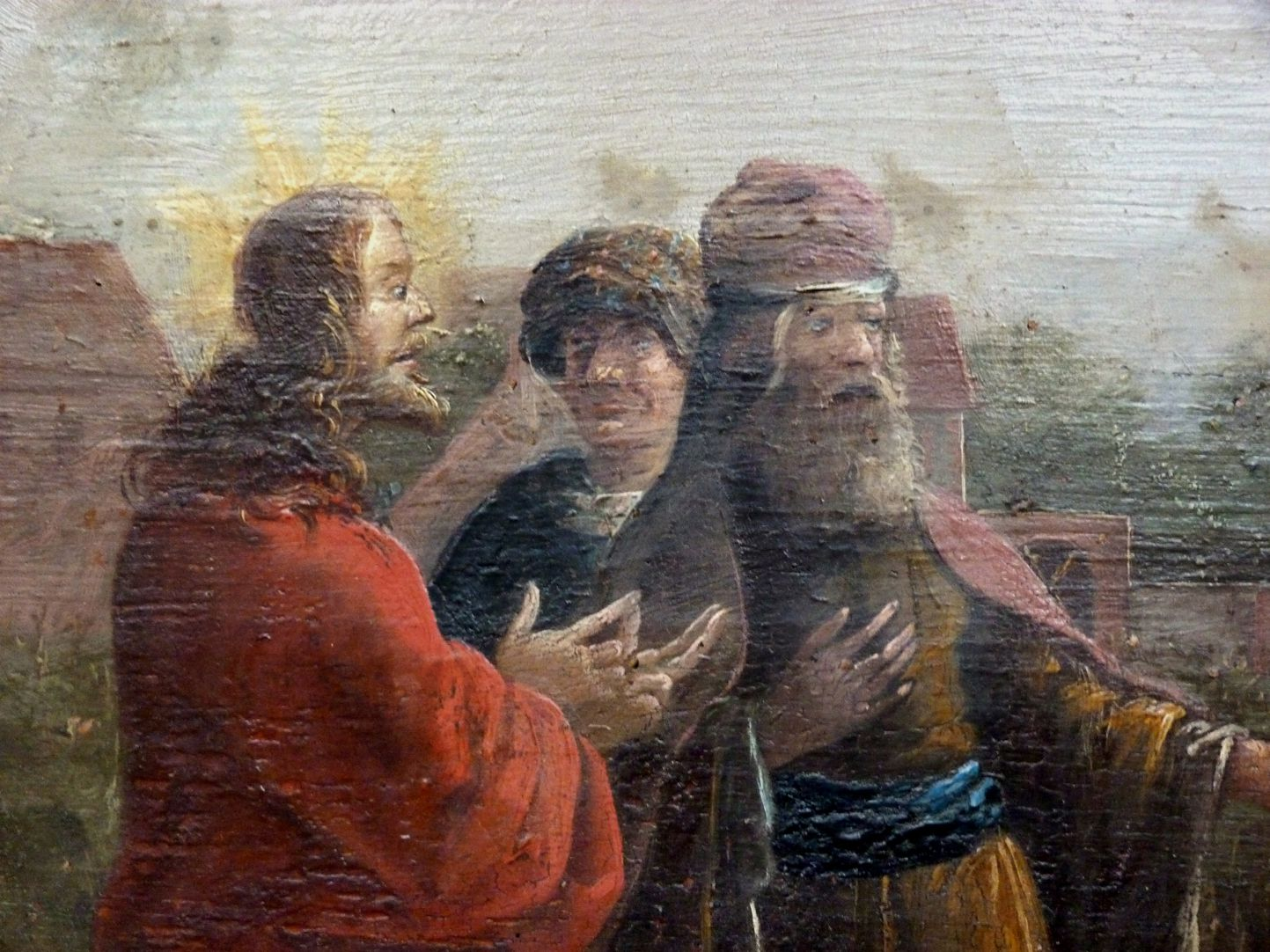 """The disciples are picking up corn on a sabbath"" Christ talking to the High Priest"