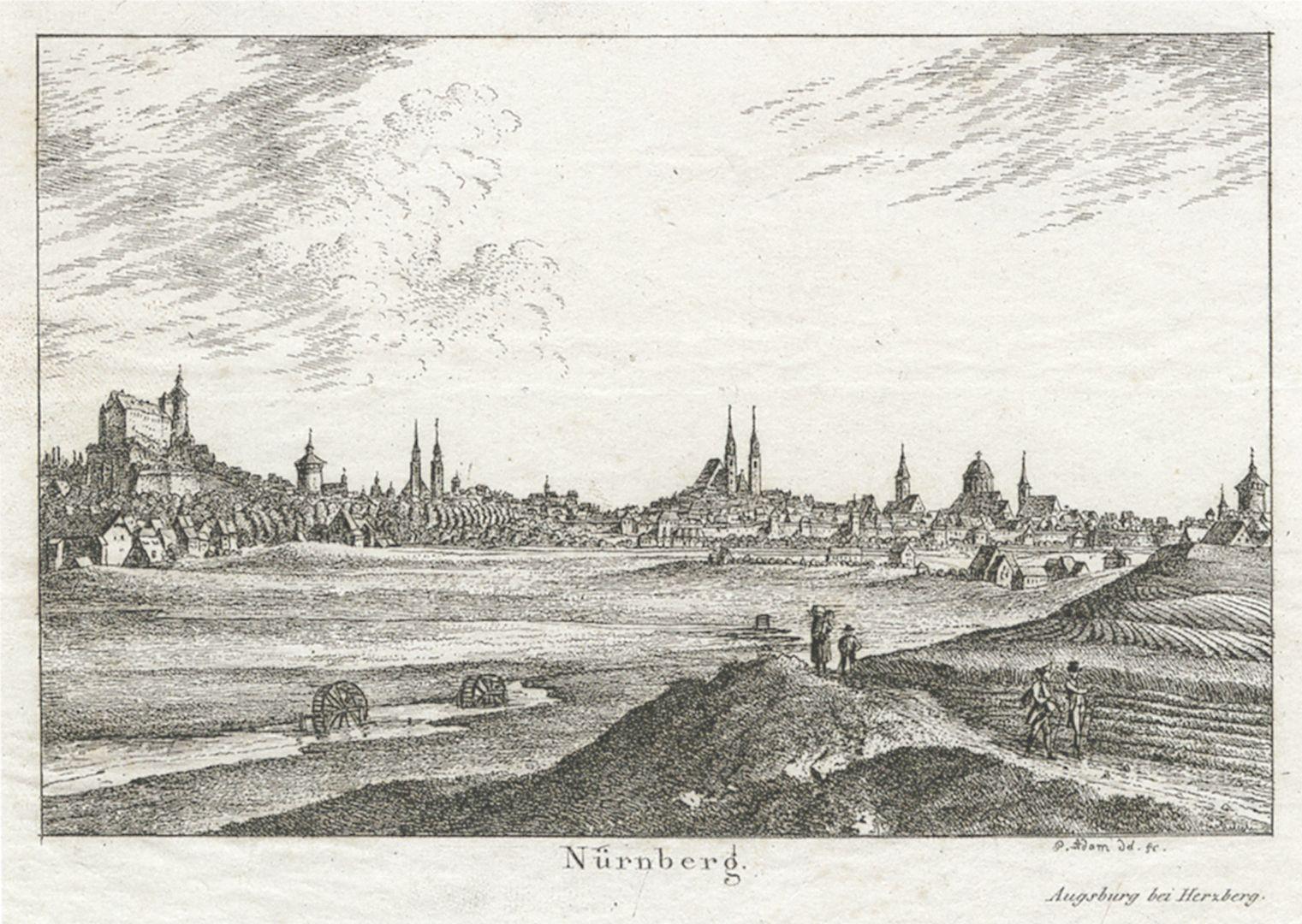Tasse mit Nürnberg-Ansicht von Südwesten Bildvorlage von Georg Adam (1785 - 1823): Nürnberg-Ansicht von Südwesten, Radierung um 1820