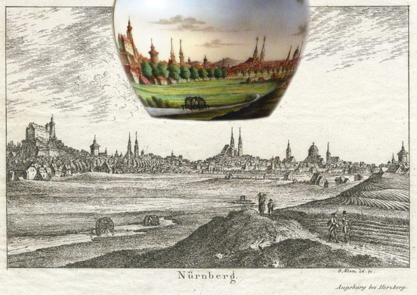 Tasse mit Nürnberg-Ansicht von Südwesten Bildvorlage von Georg Adam (1785 - 1823): Nürnberg-Ansicht von Südwesten, Radierung um 1820 und Bild auf der Tasse