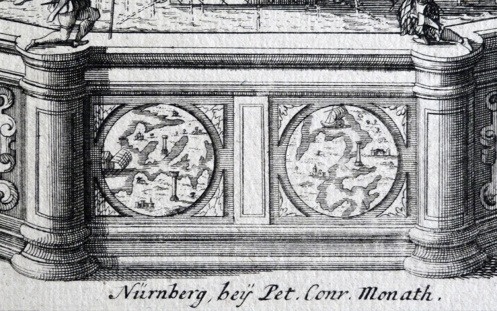 Neptune fountain Signature of Peter Conrad Monath, above pelvic cheek with two tondi: on the left the Pillars of Hercules? on the right the Gulf of Patras?