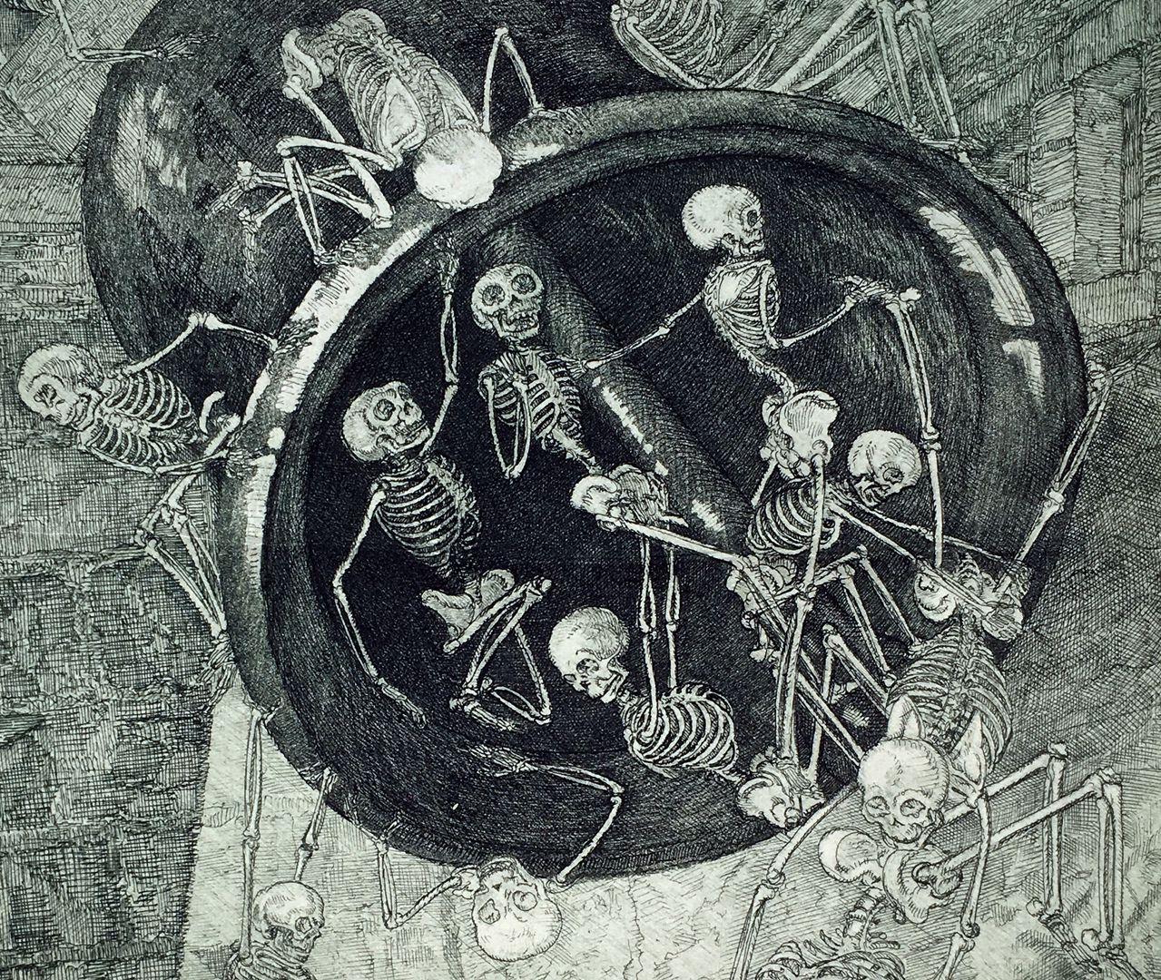 Friedensglocken Glocke mit Skeletten