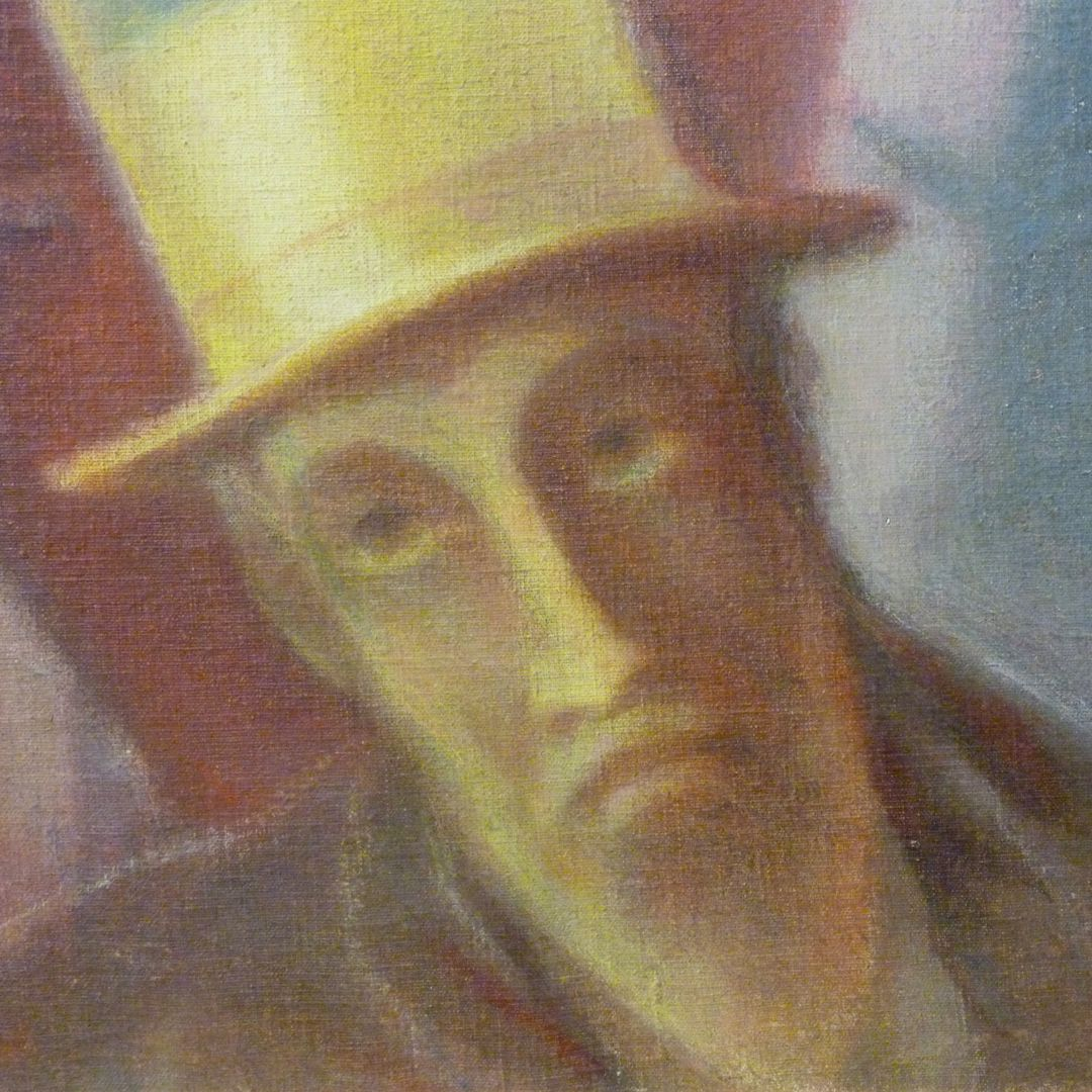 Man with top hat Detail