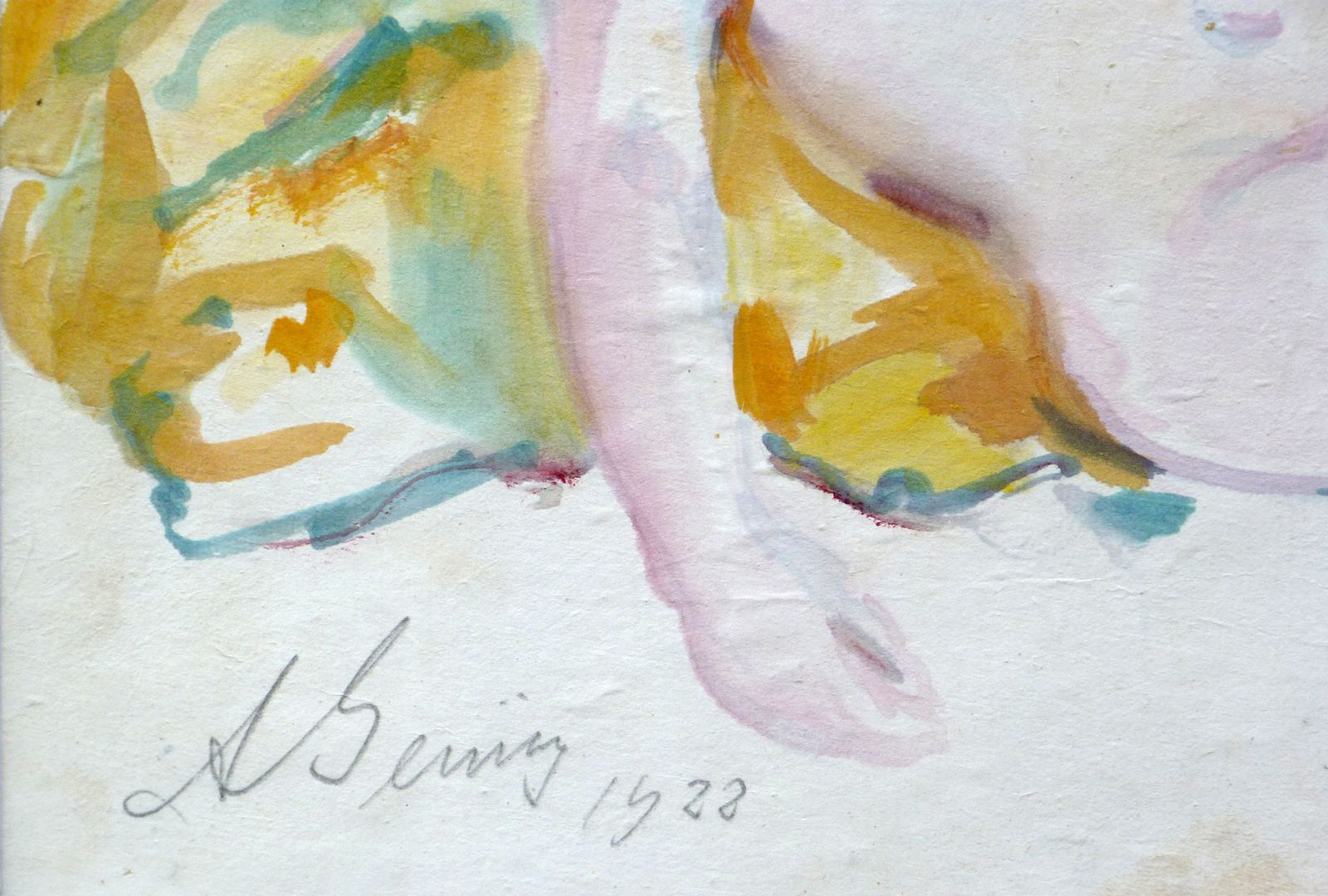 Female nude Detail with artist's signature