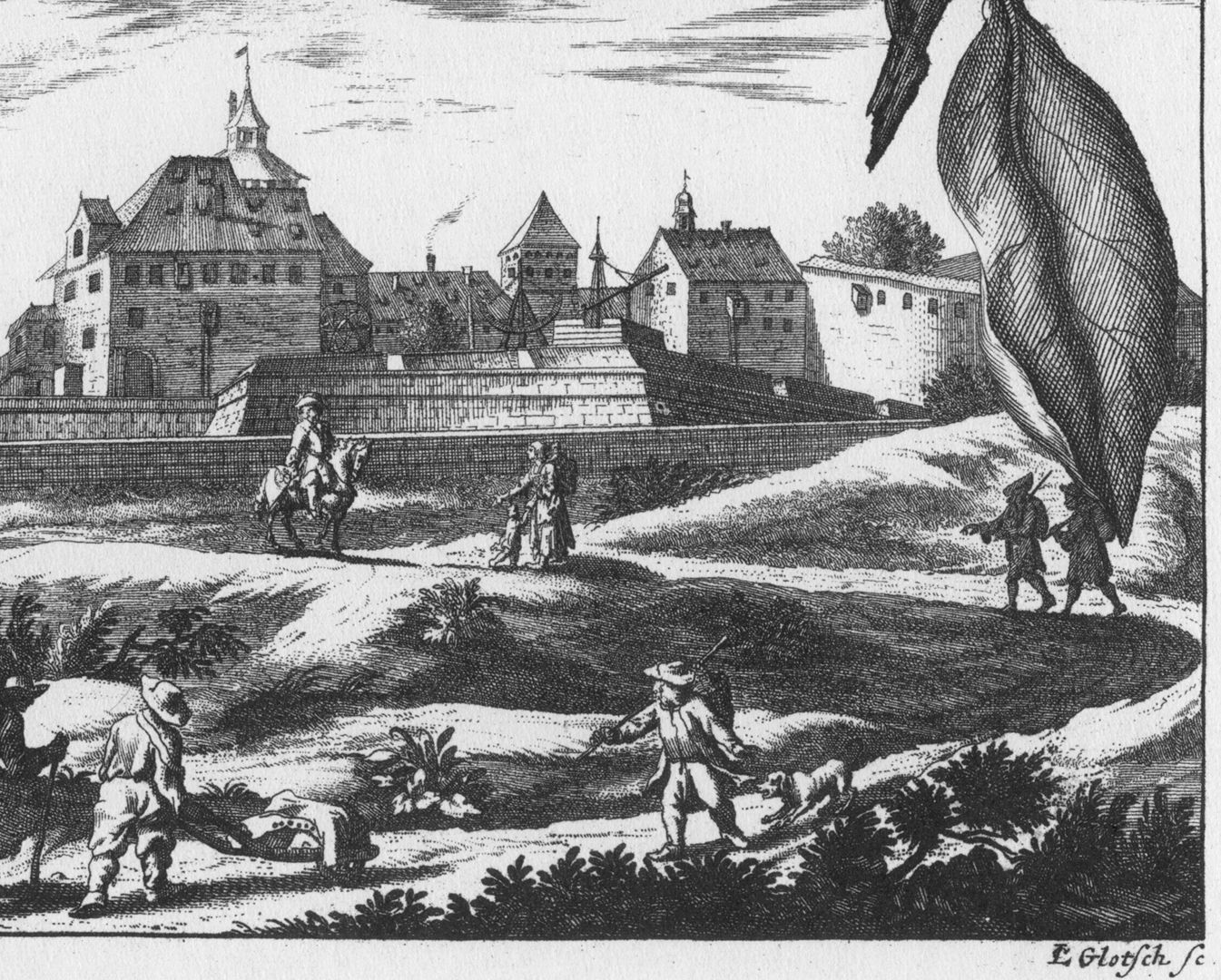 View of the observatory of the fortress Lower half of the copperplate with artist´s signature