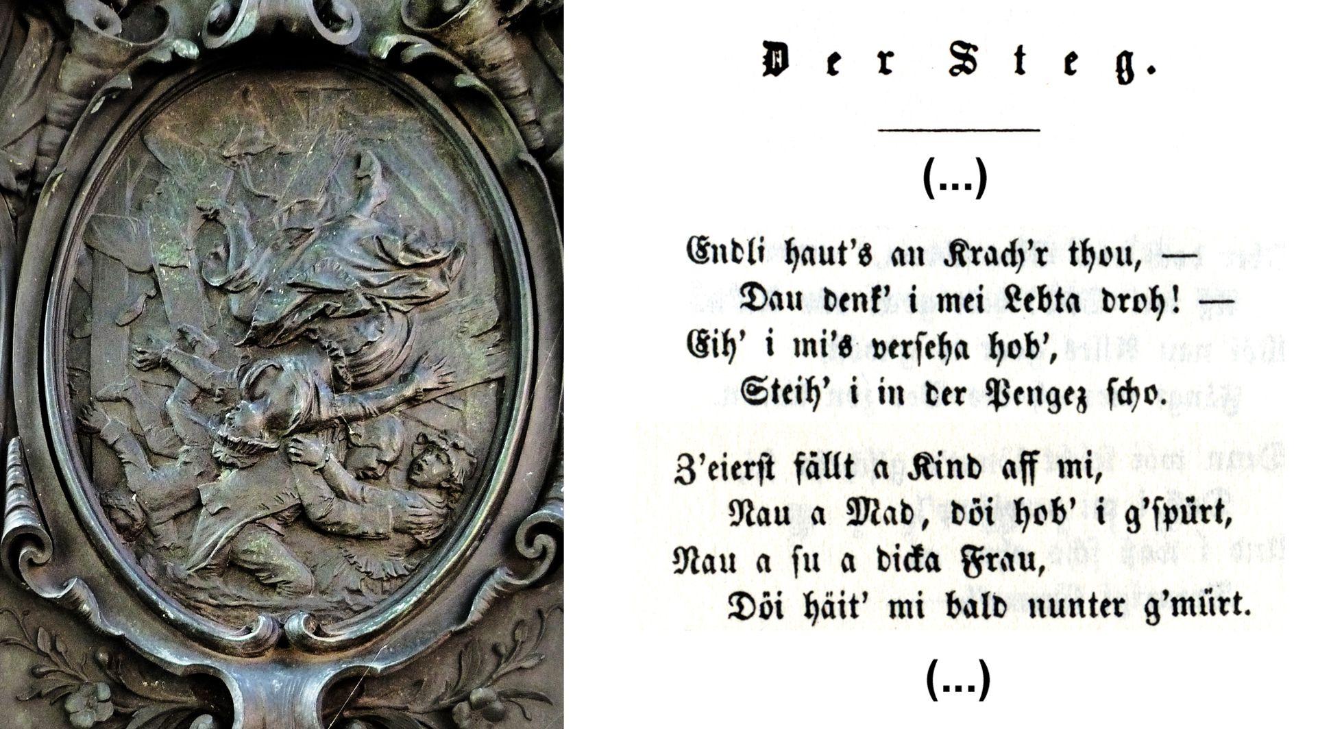 """Grübelsbrunnen Postament, Ostseite, """"Der Steg"""", Textstelle für die Darstellung"""