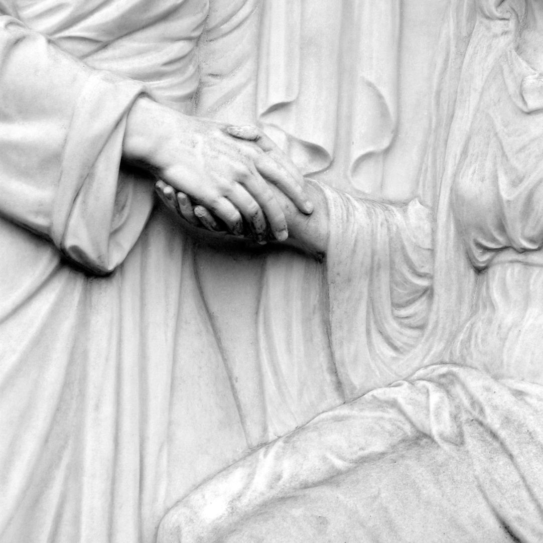 Sepulchral monument of the family Zeltner Detail, hands, arrangement of the folds of the gowns