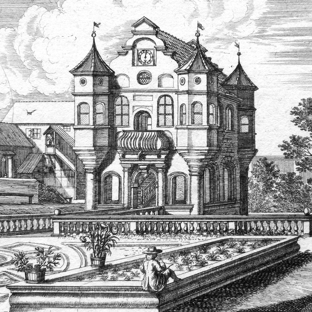 Vargeten Garden off Nuremberg Detail, at the lower edge of the picture: back view of a draftsman (Johann Andreas Graff?)