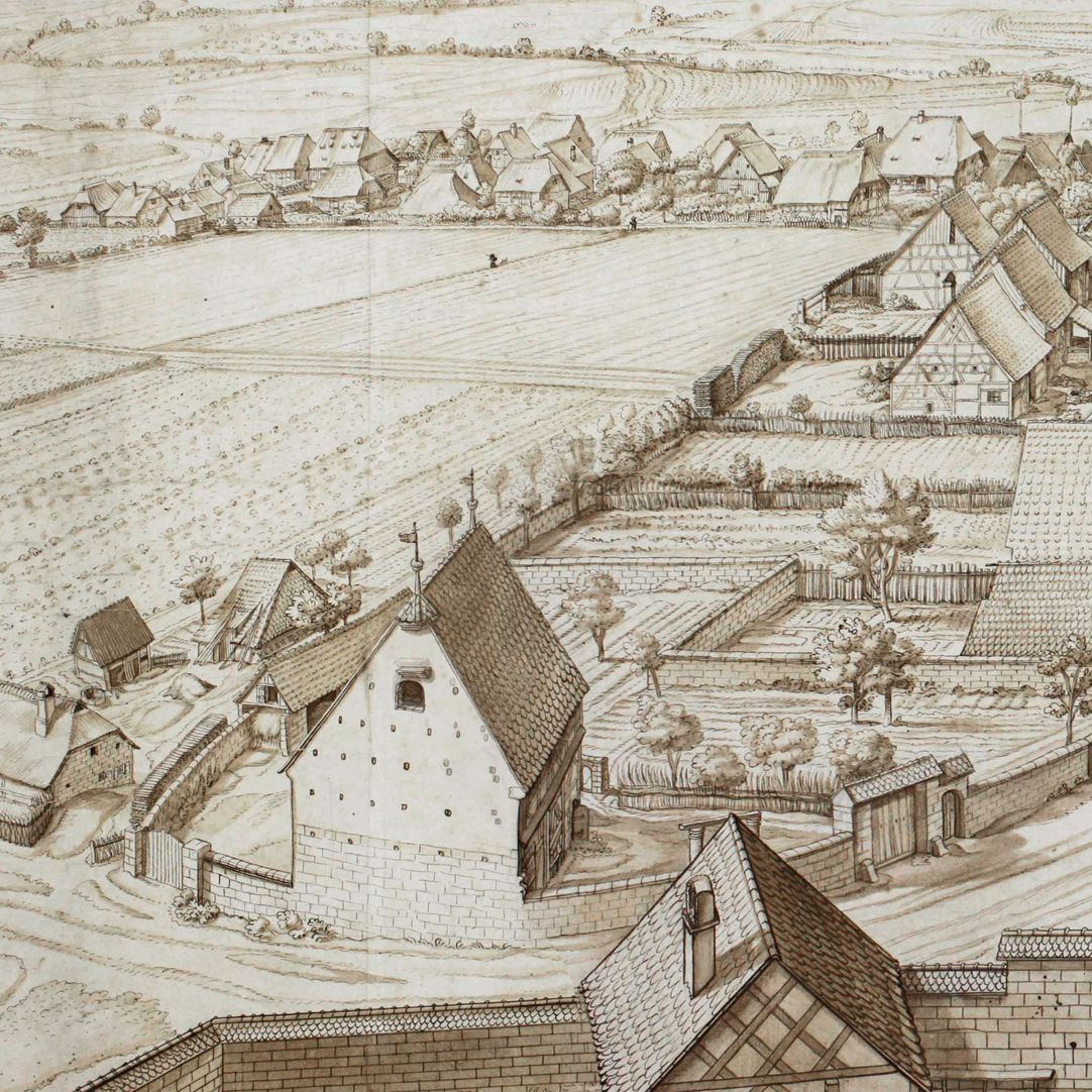 Großgründlach, View from the Church steeple southwards Left half of the picture, Detail