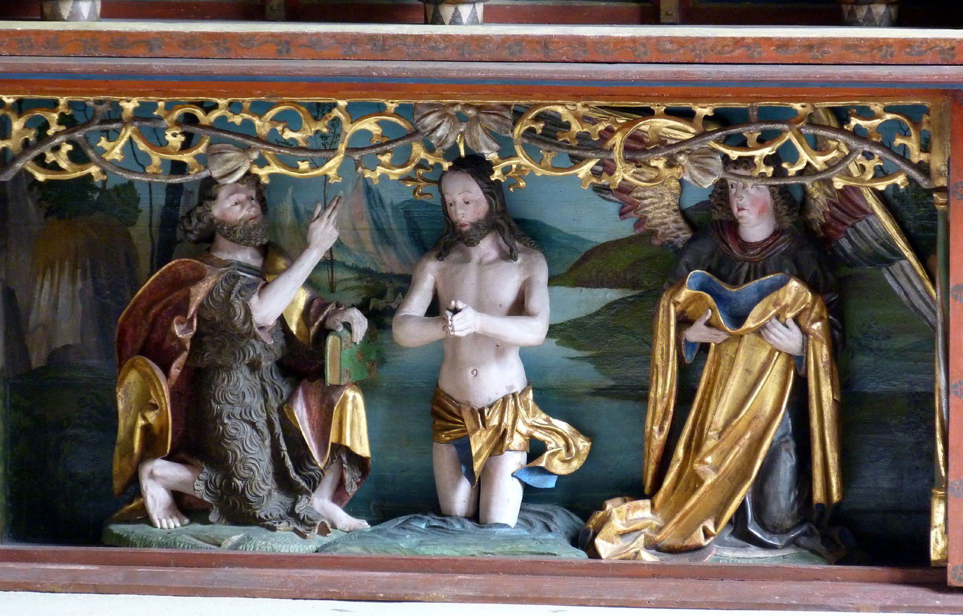 Gutenstetten Altar Predella: Baptism of Christ in the river Jordan
