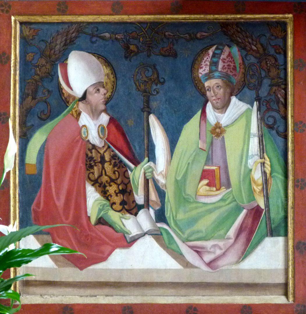 Gutenstetten Altar eft predella wing: Church fathers Ambrosius and Augustinus