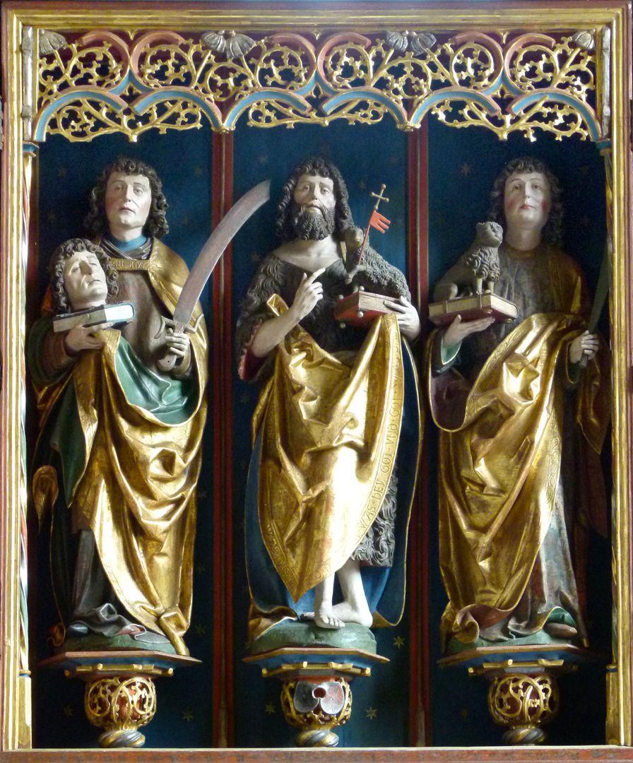 Gutenstetten Altar Altar shrine from r. to l. St. Dionys, St. John Baptist and St. Cyriakus