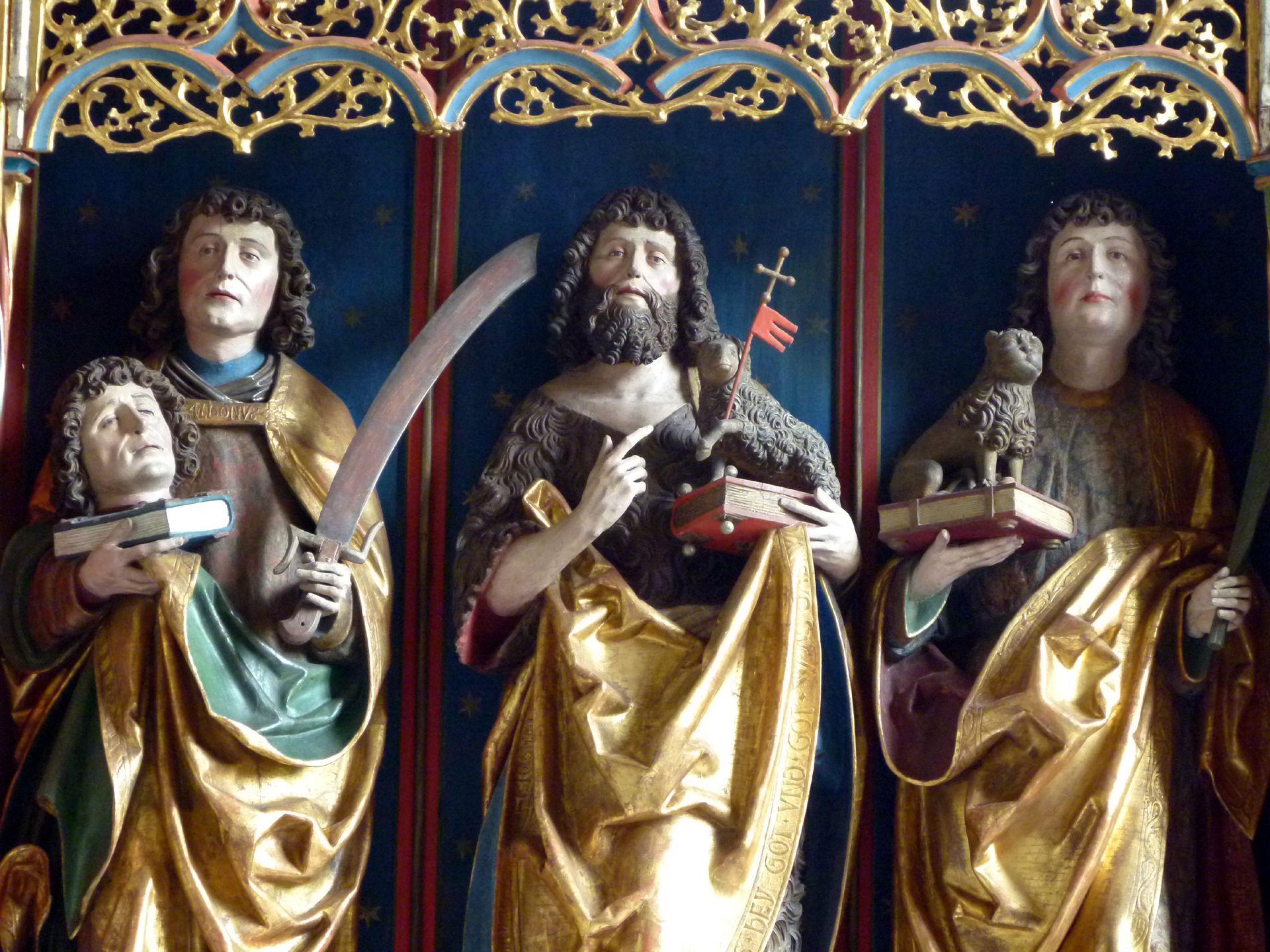 Gutenstetten Altar Altarschrein: von l. nach r.: Dionisius, Johannes d. T. und Cyriakus, Detail