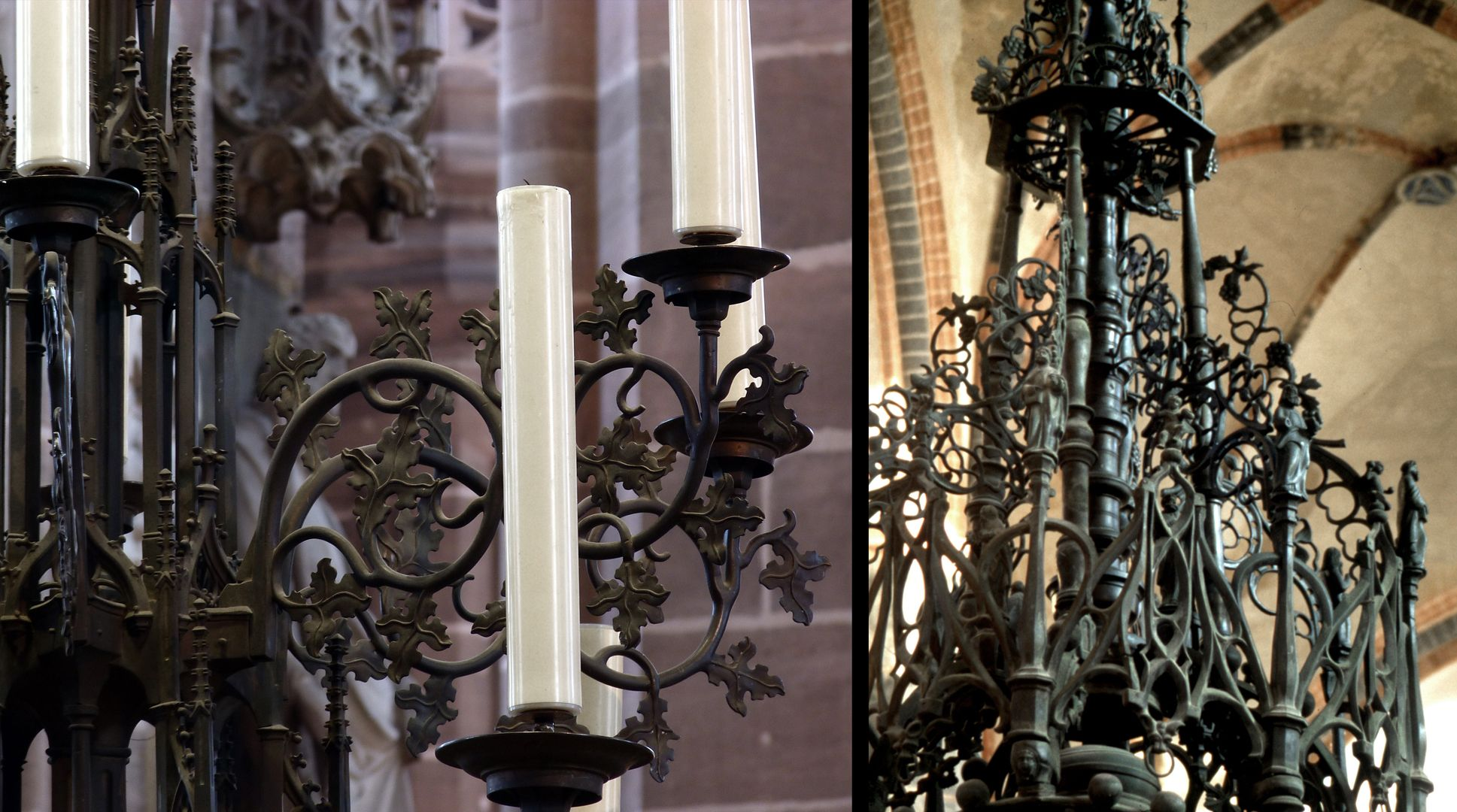 Baptismal font Left: Chandelier from St. Lorenz in Nuremberg, right: Detail of the canopy