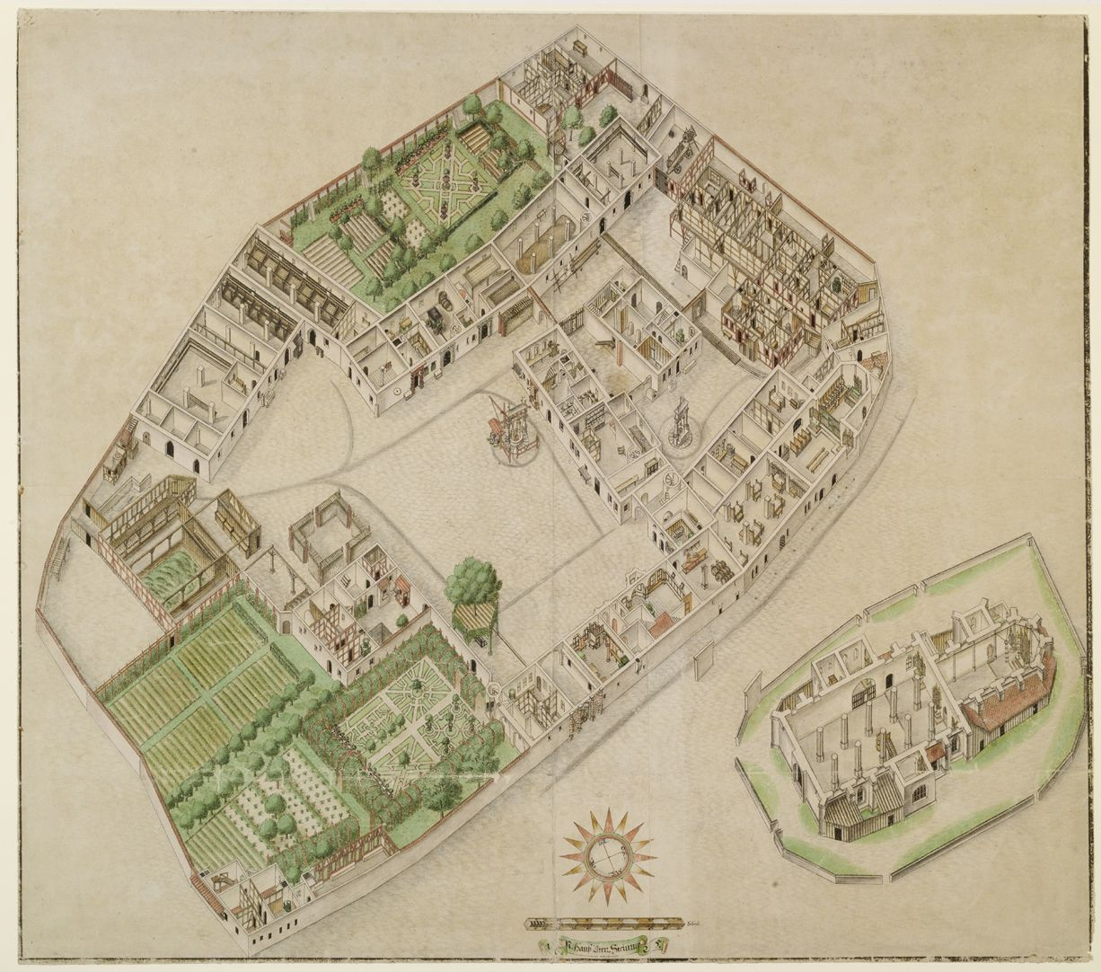 Isometric Picture of the whole plan of the German House in Nuremberg with view into the ground floors General view: at the bottom flower and kitchen garden (the western area was the cultivated part), at the top the so called gold-workers´ garden, on the right of that the old hospice houses and tenements