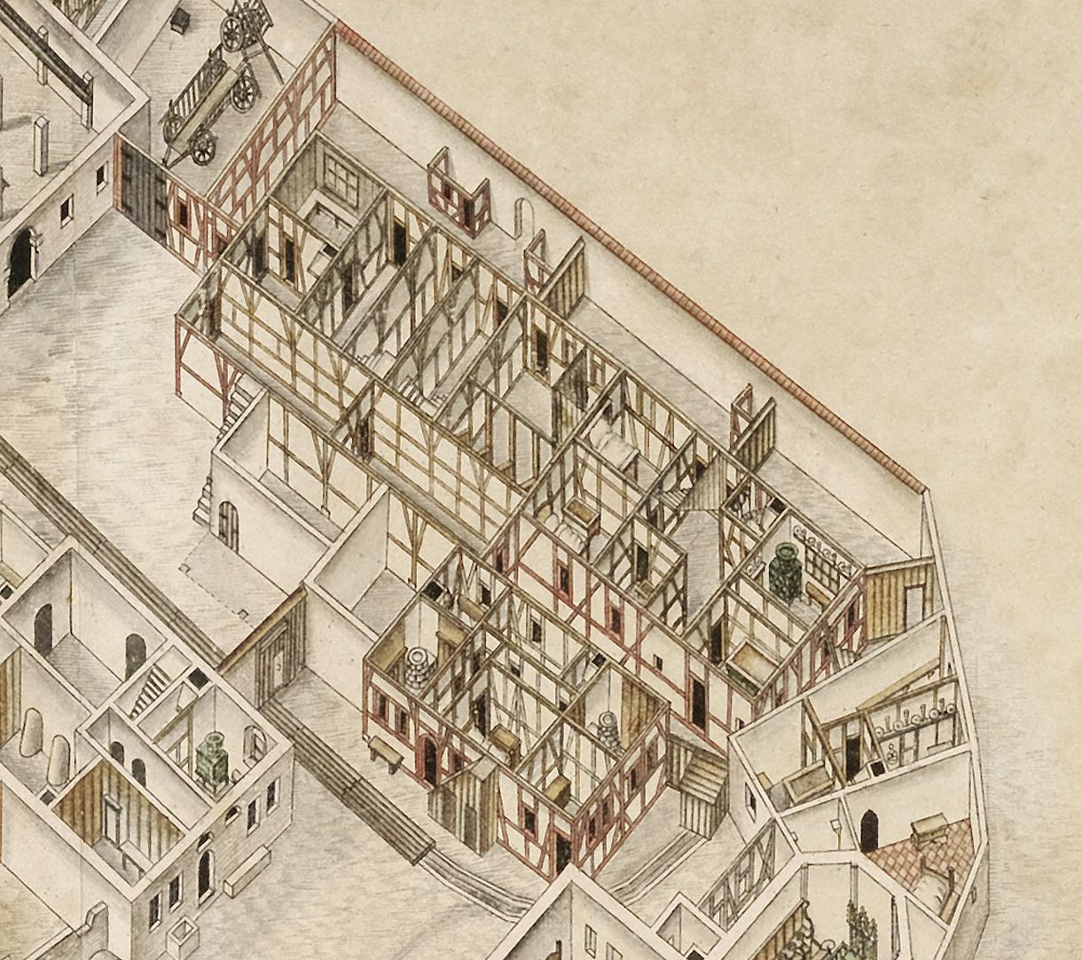 Isometric Picture of the whole plan of the German House in Nuremberg with view into the ground floors Detail of the old hospice houses and tenements