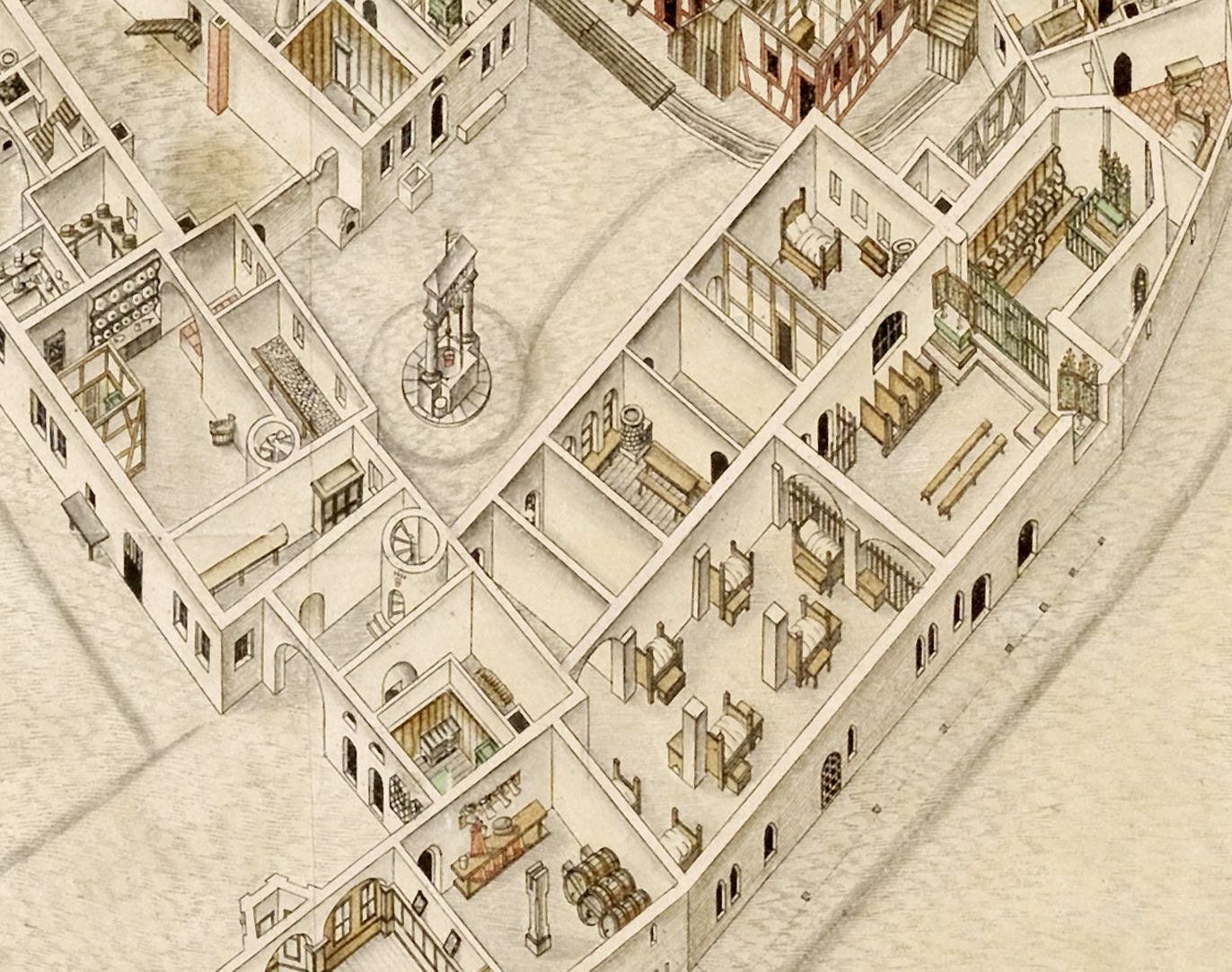 Isometric Picture of the whole plan of the German House in Nuremberg with view into the ground floors Hospice yard with fountain/well, on the right Elisabeth Chapel with its anteroom (beds of the beneficiaries next to the pillars), left of the fountain/well larder and kitchen