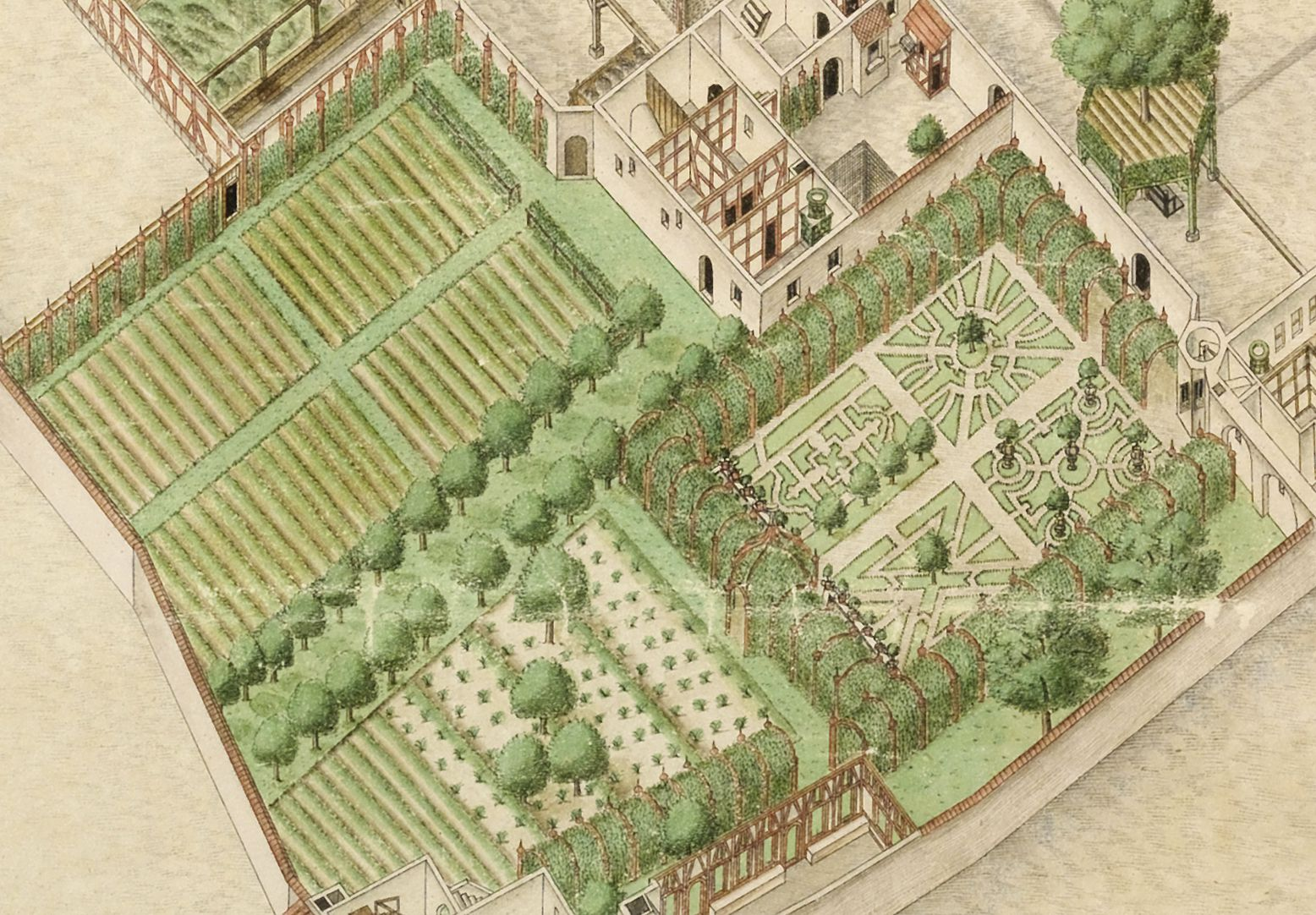Isometric Picture of the whole plan of the German House in Nuremberg with view into the ground floors Flower and kitchen gardens