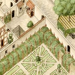 Isometric Picture of the whole plan of the German House in Nuremberg with view into the ground floors