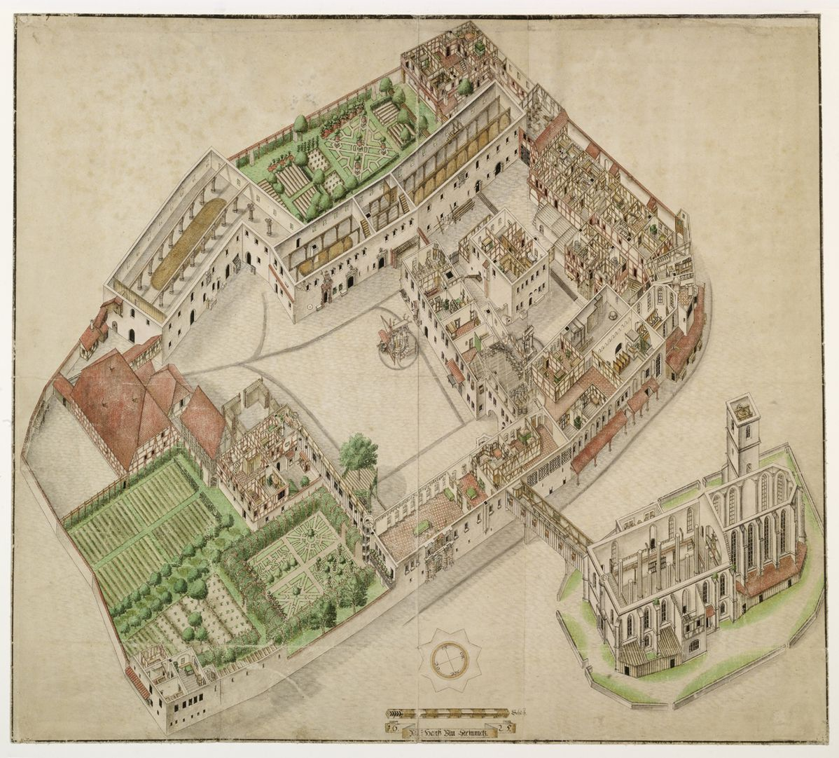 Isometric Picture of the whole plant of the German House in Nuremberg with view from the bird´s eye into the upper floors Entire estate. This is the most exact inventory of an architectural complex that has been delivered to posterity so far