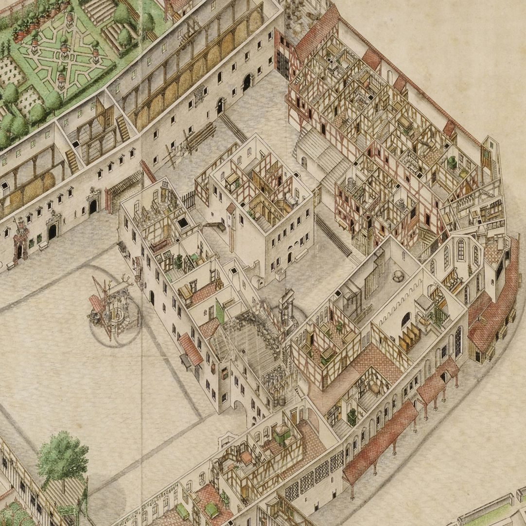 Isometric Picture of the whole plant of the German House in Nuremberg with view from the bird´s eye into the upper floors Detail view