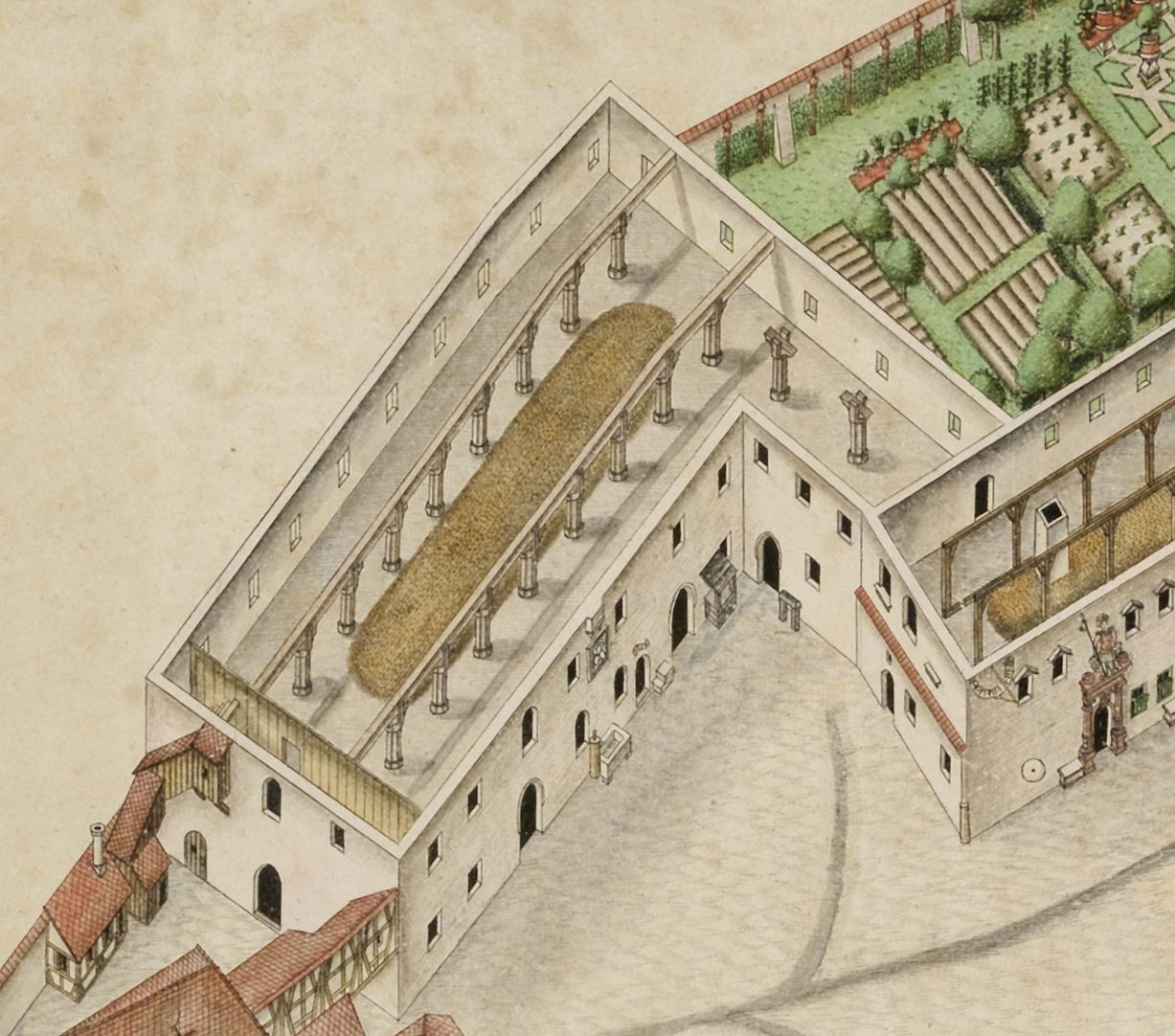 Isometric Picture of the whole plant of the German House in Nuremberg with view from the bird´s eye into the upper floors Detail granary with halls having multiple aisles