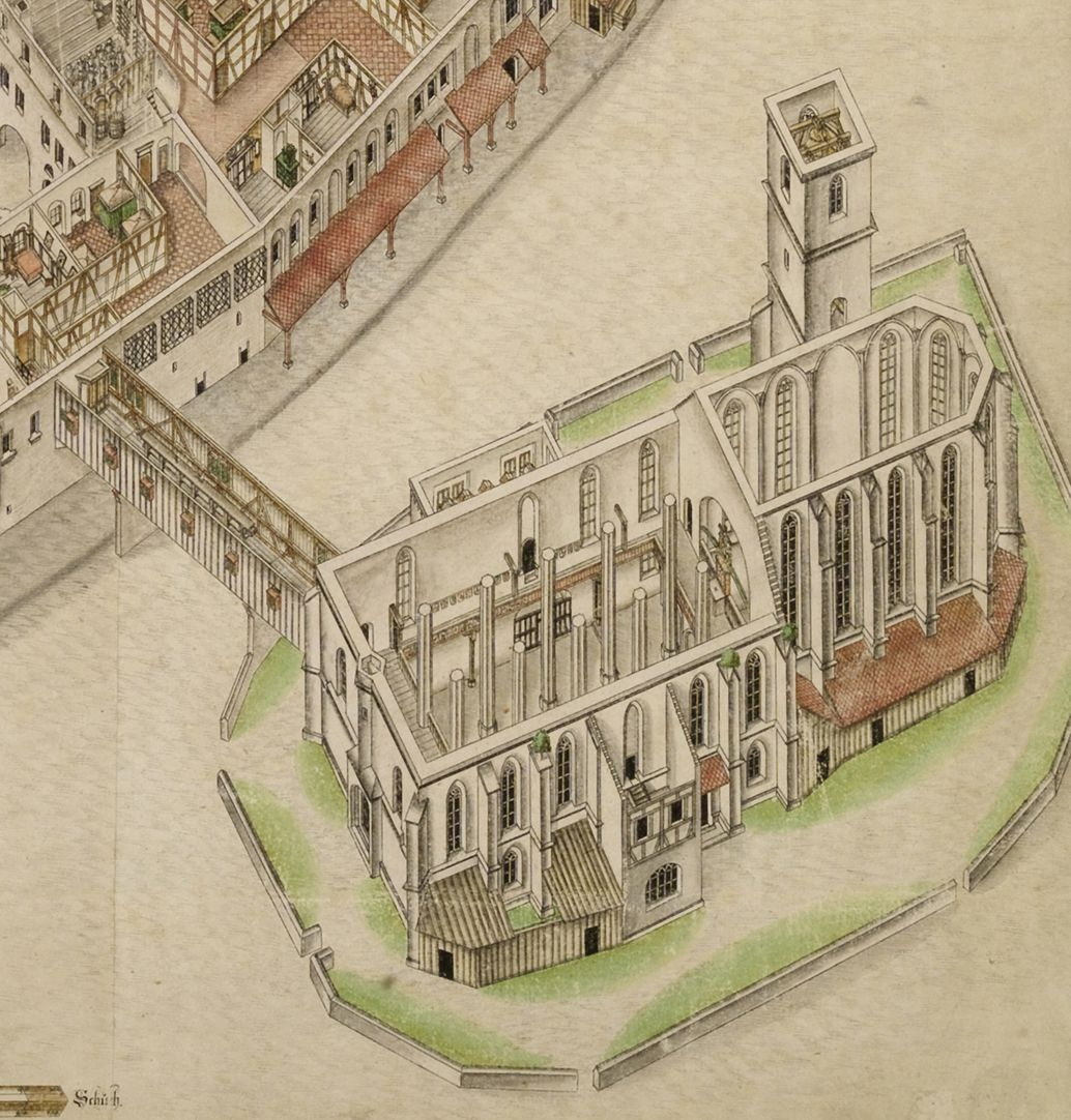 Isometric Picture of the whole plant of the German House in Nuremberg with view from the bird´s eye into the upper floors Detail Jacob´s Church (please note that the choir has been separated from the nave by a rood screen