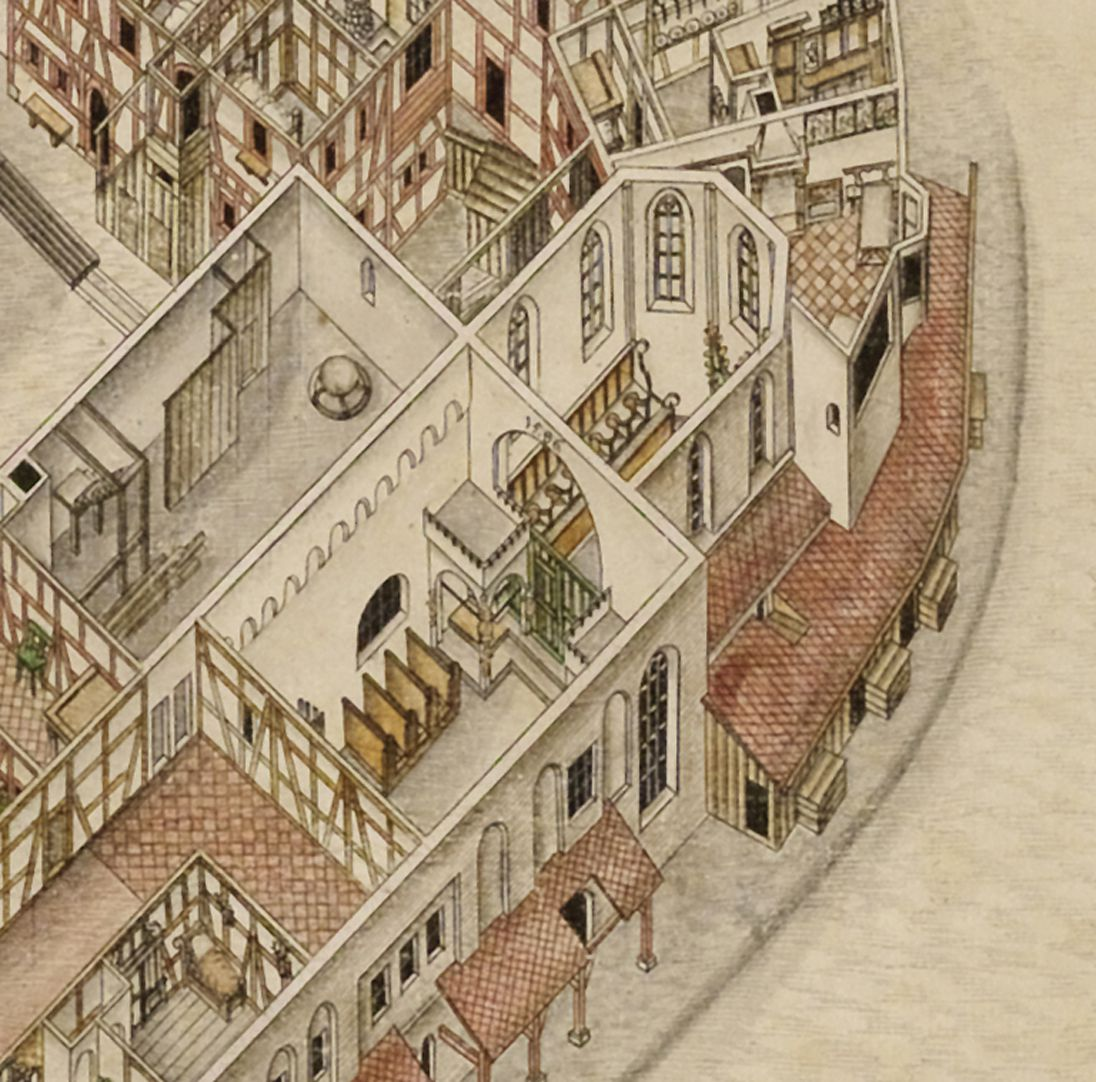 Isometric Picture of the whole plant of the German House in Nuremberg with view from the bird´s eye into the upper floors Detail Elisabeth-Church with choir and roodloft chapel for the beneficiaries