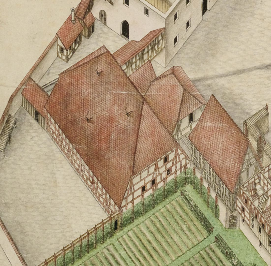 Isometric Picture of the whole plant of the German House in Nuremberg with view from the bird´s eye into the upper floors Detail big barn next to the kitchen garden