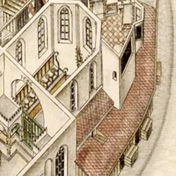 Isometric Picture of the whole plant of the German House in Nuremberg with view from the bird´s eye into the upper floors