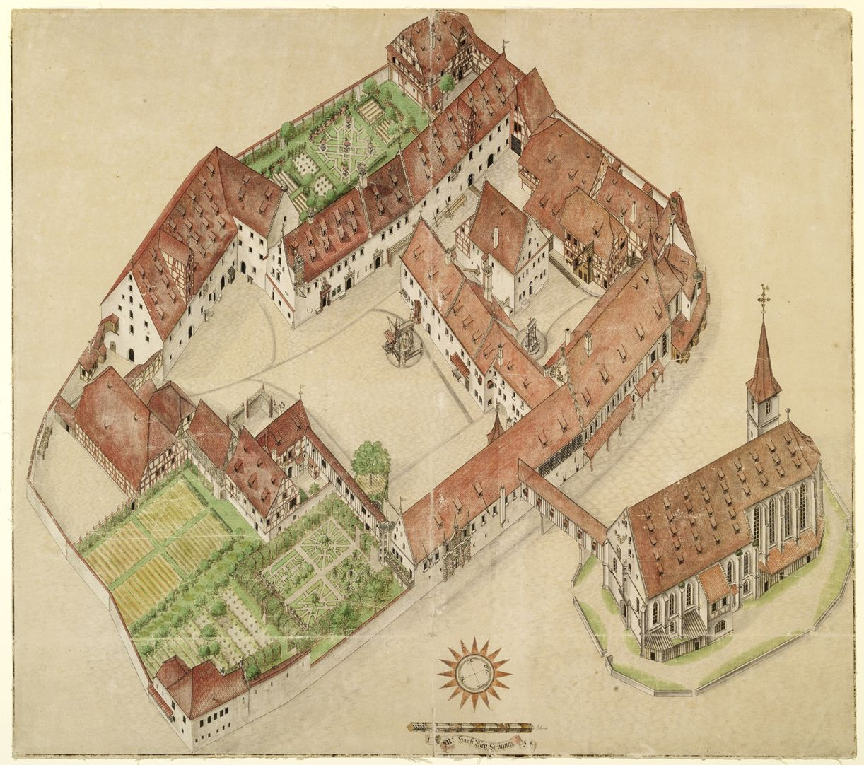 Isometric sketch of the German House in Nuremberg from the bird´s eye as seen from the south/west General view. This is the most exact inventory of an architectural complex that has been delivered to posterity so far