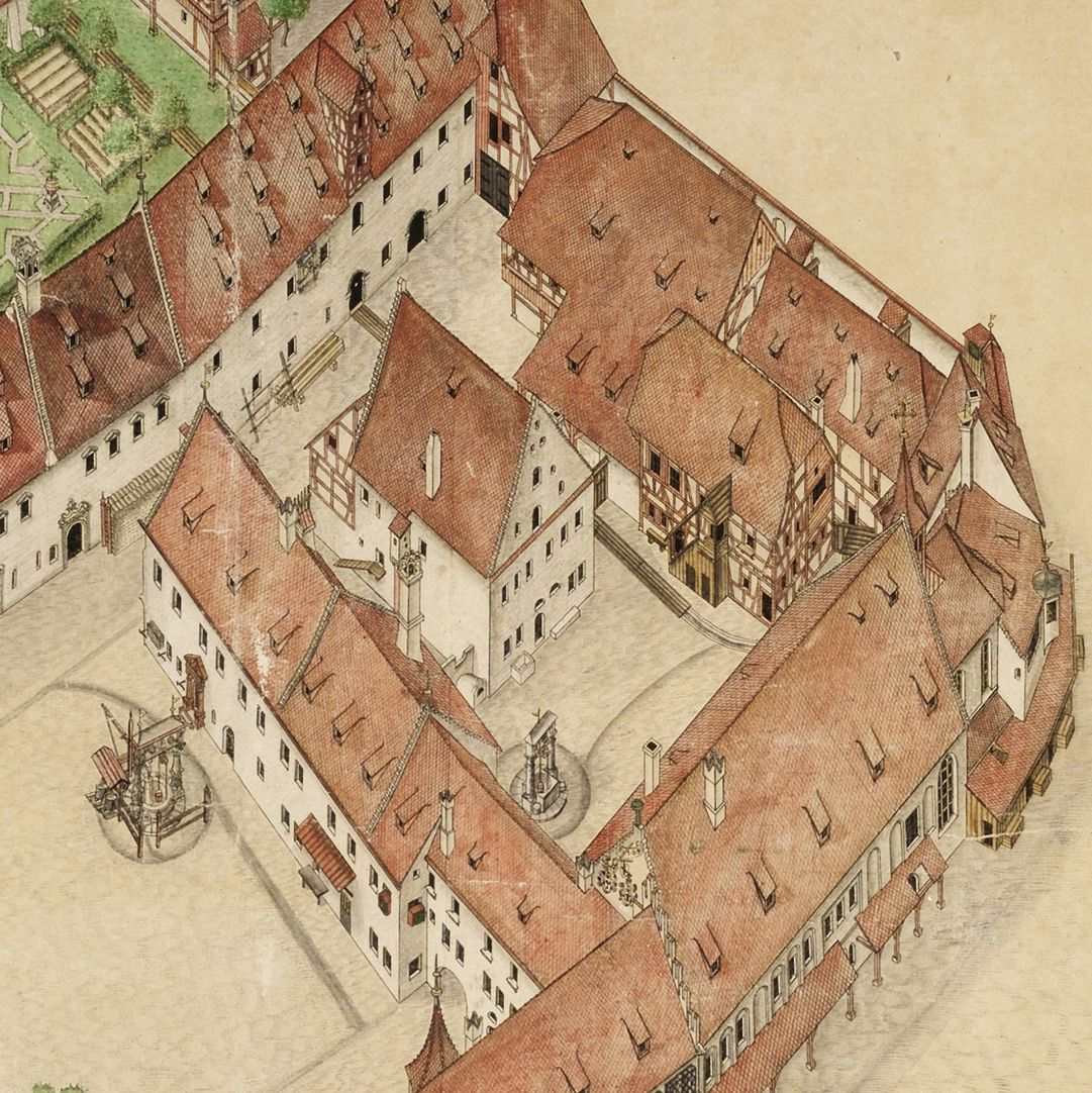 Isometric sketch of the German House in Nuremberg from the bird´s eye as seen from the south/west Detail: top left malt: case, bottom left: Hofreuth, right: Buildings around the Hospice yard