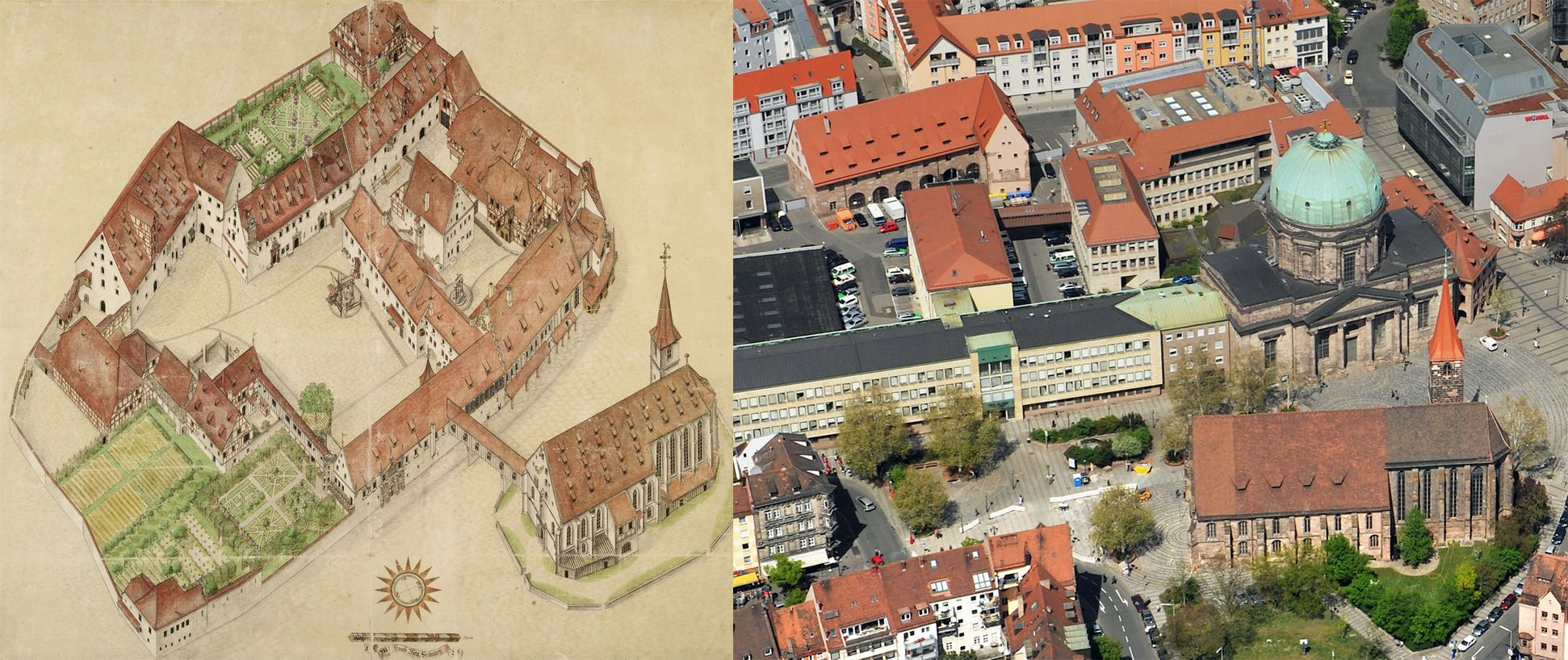 Isometric sketch of the German House in Nuremberg from the bird´s eye as seen from the south/west Comparison Bien and photograph from the air: Jacob´s Church and the L-shaped granary have been preserved, the Elisabeth-Chapel was replaced by the Elisabeth-Church after 1748. Remaining building have been frequently replaced (now police headquarters)