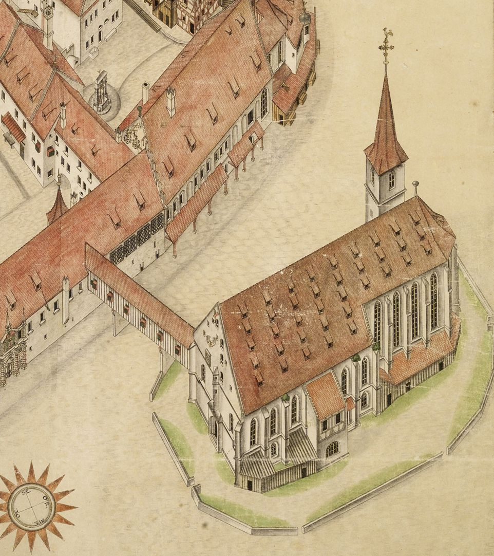 Isometric sketch of the German House in Nuremberg from the bird´s eye as seen from the south/west Jacob´s Church with connecting bridge to commandery, roof of the church still granary, front before the changes conducted by Heideloff