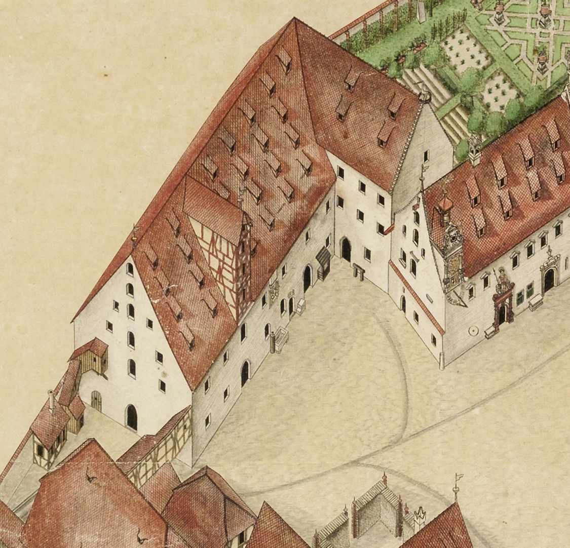Isometric sketch of the German House in Nuremberg from the bird´s eye as seen from the south/west Granary with ground floor stables